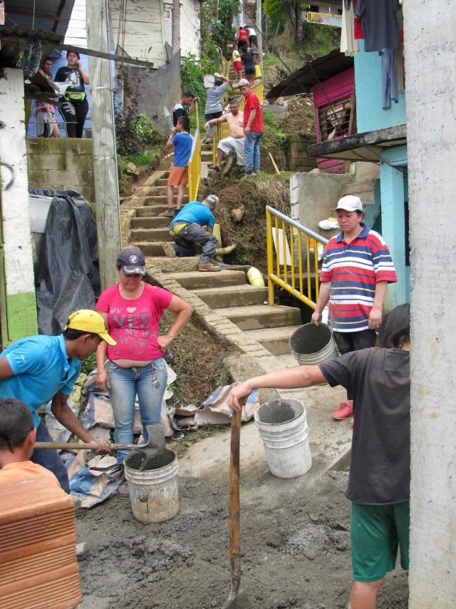 Community members putting drainage mitigation works in place in Colombia (Heriot-Watt University/PA)