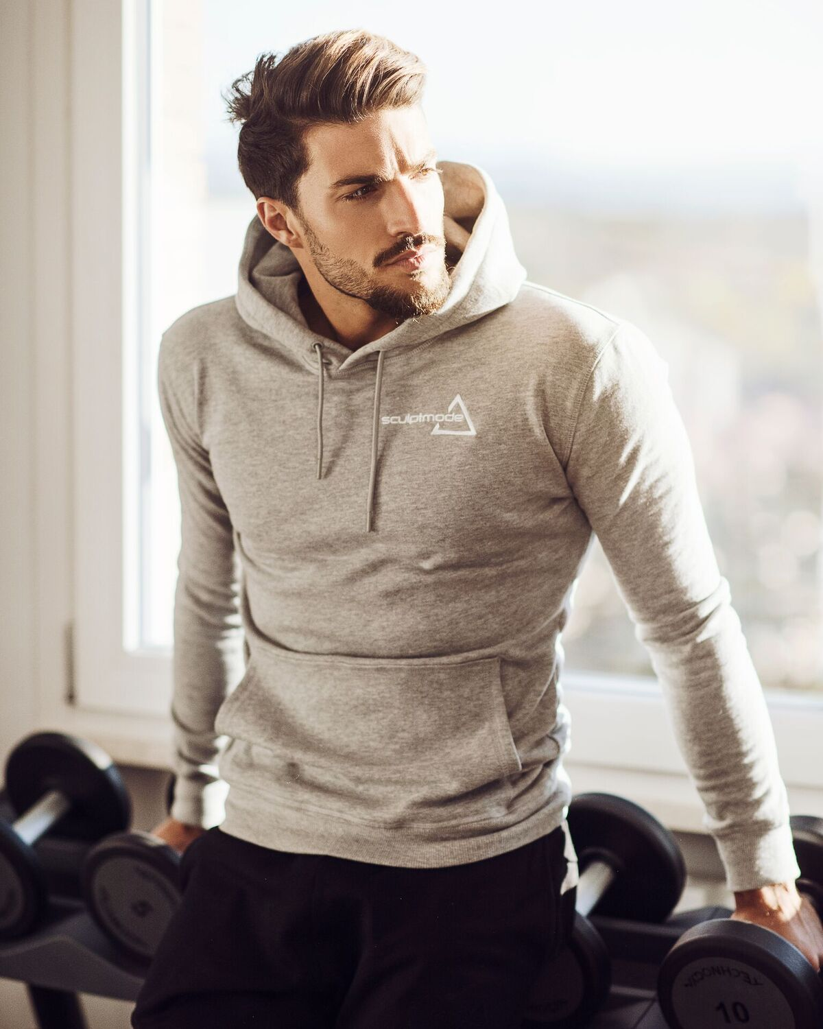 model wearing Sculptmode Sculpted Grey Pullover and Joggers