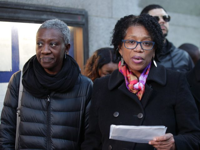 Valerie Archibold (left) and Lorraine Jones (right), the sisters of Angela Best, speak to the media (Yui Mok/PA)