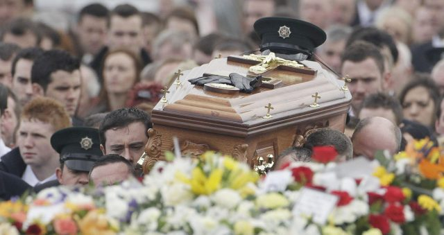 The coffin of PSNI Constable Ronan Kerr (Niall Carson/PA)