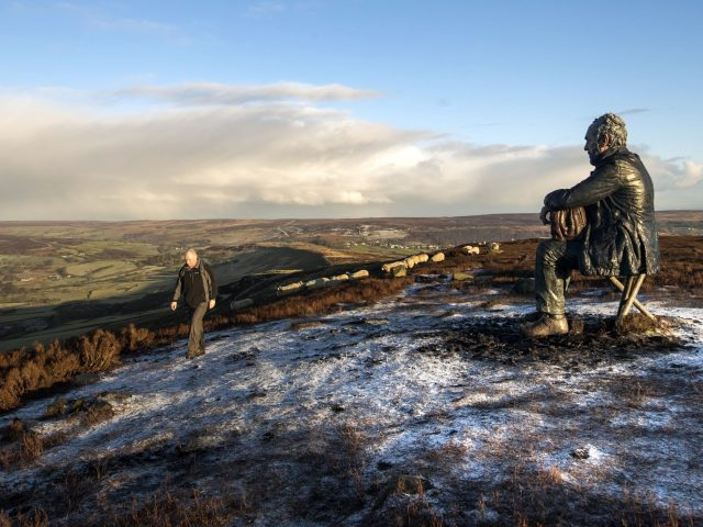 Sean Henry's sculpture Seated Figure in the North York Moors National Park