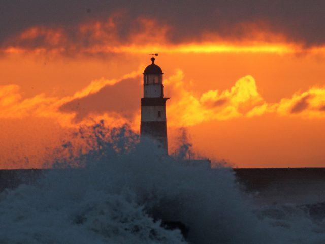 Sunrise over Seaham lighthouse near Durham