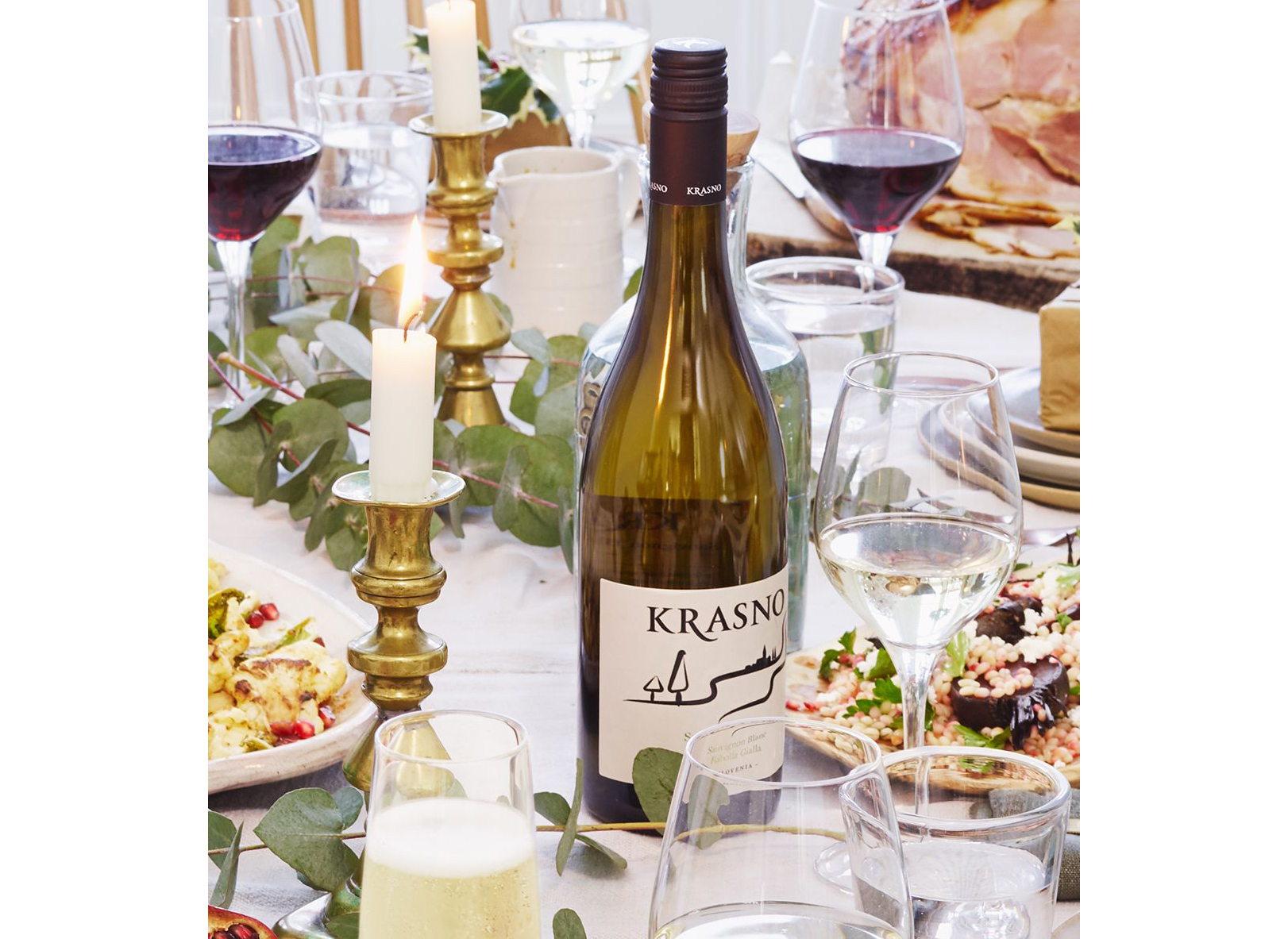 Bottle of white wine from Slovenia with food