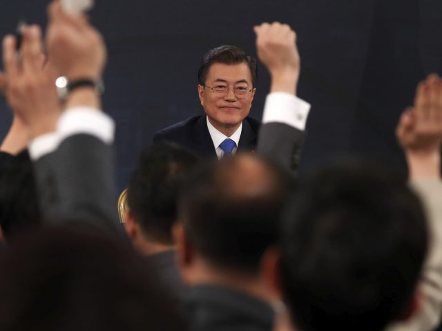South Korea's Moon Jae-in takes question
