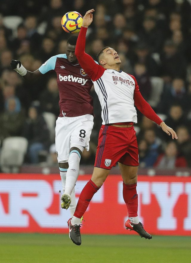 Jake Livermore, right, playing against West Ham, during which match the incident happened (Frank Augstein/AP)