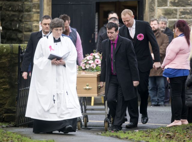 Malcolm Willsher takes the coffin of his wife, Jodie (Danny Lawson/PA)