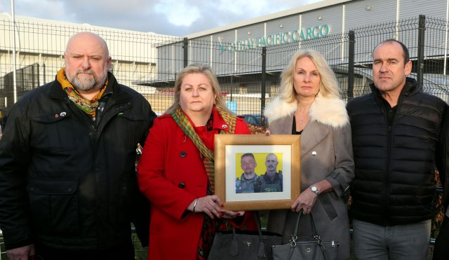 Peter Holmes and Angie Blannin, left, parents of Jac Holmes, and Jane and Gary Lyndon, right, mother and stepfather of Ollie Hall (Steve Parsons/PA)