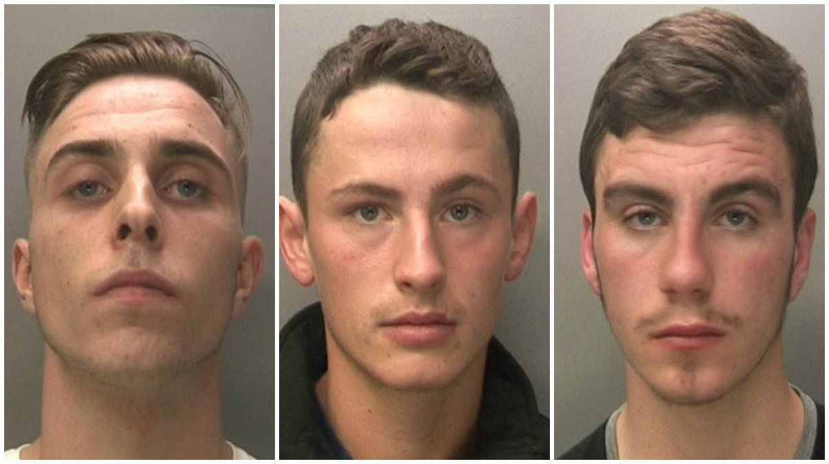 Jake Cairns, Brandon Sharples and Jack McInally received prison terms (police/PA)