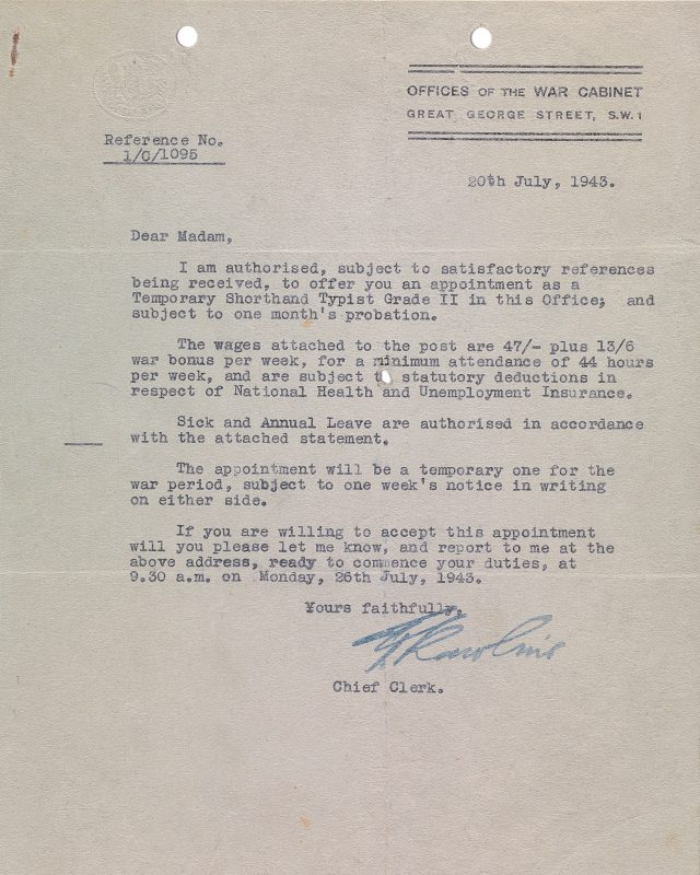 A letter confirming the appointment of a typist in the War Rooms (Imperial War Museums/PA)