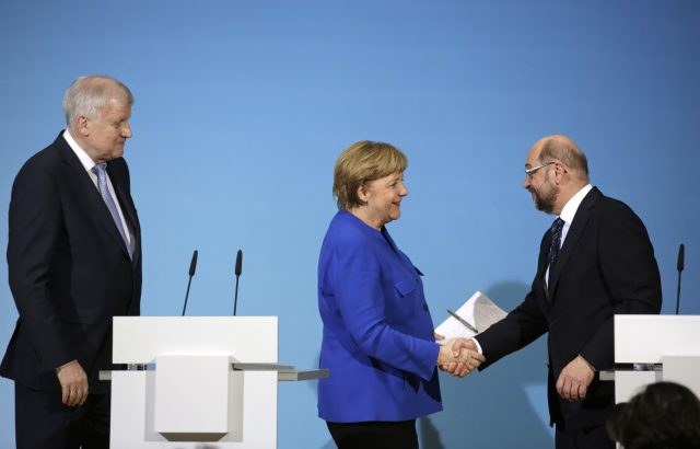 Bavarian governor Horst Seehofer,  Angela Merkel and Martin Schulz