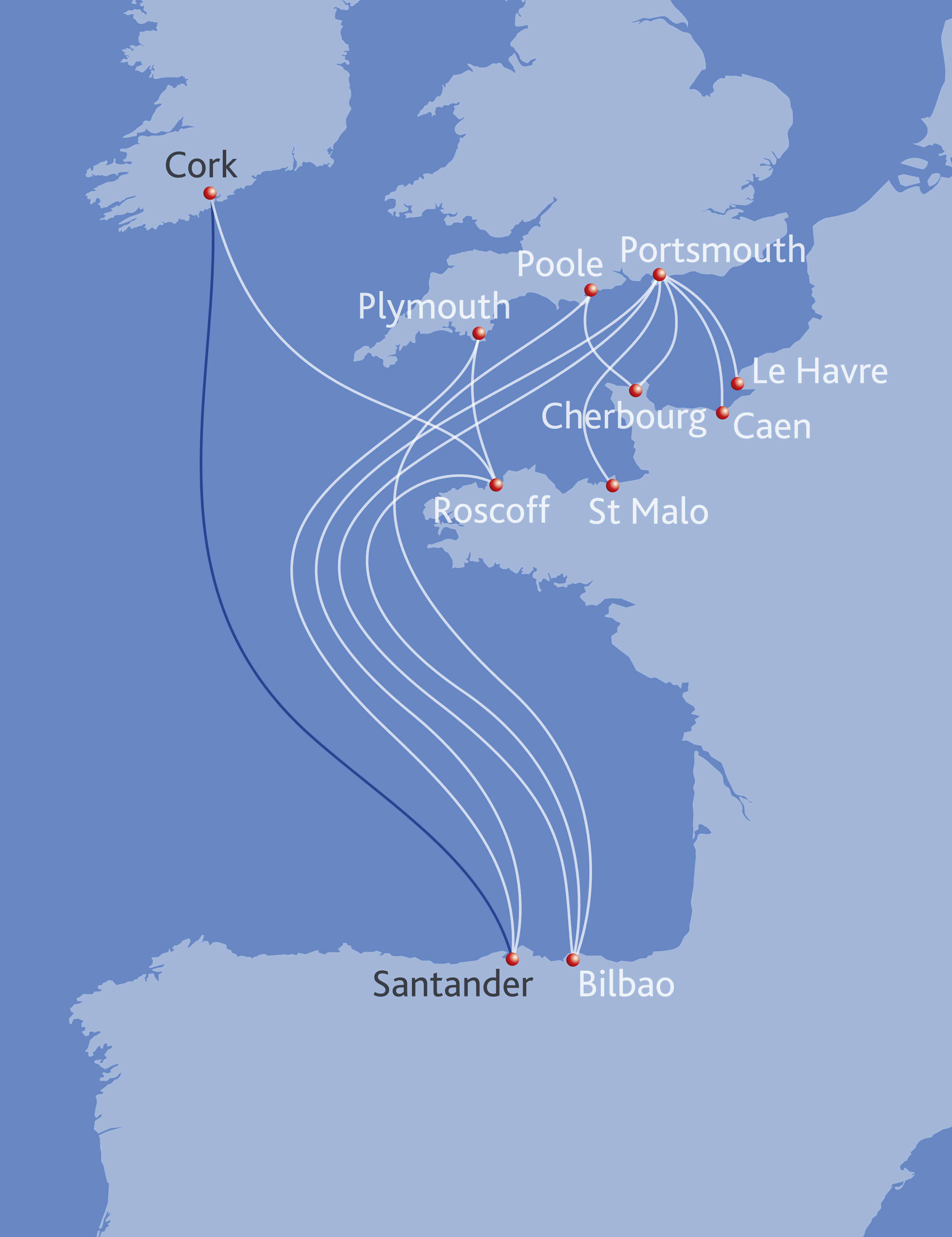 An updated map showing Brittany Ferries' routes, including Ireland to Spain (Brittany Ferries/PA)