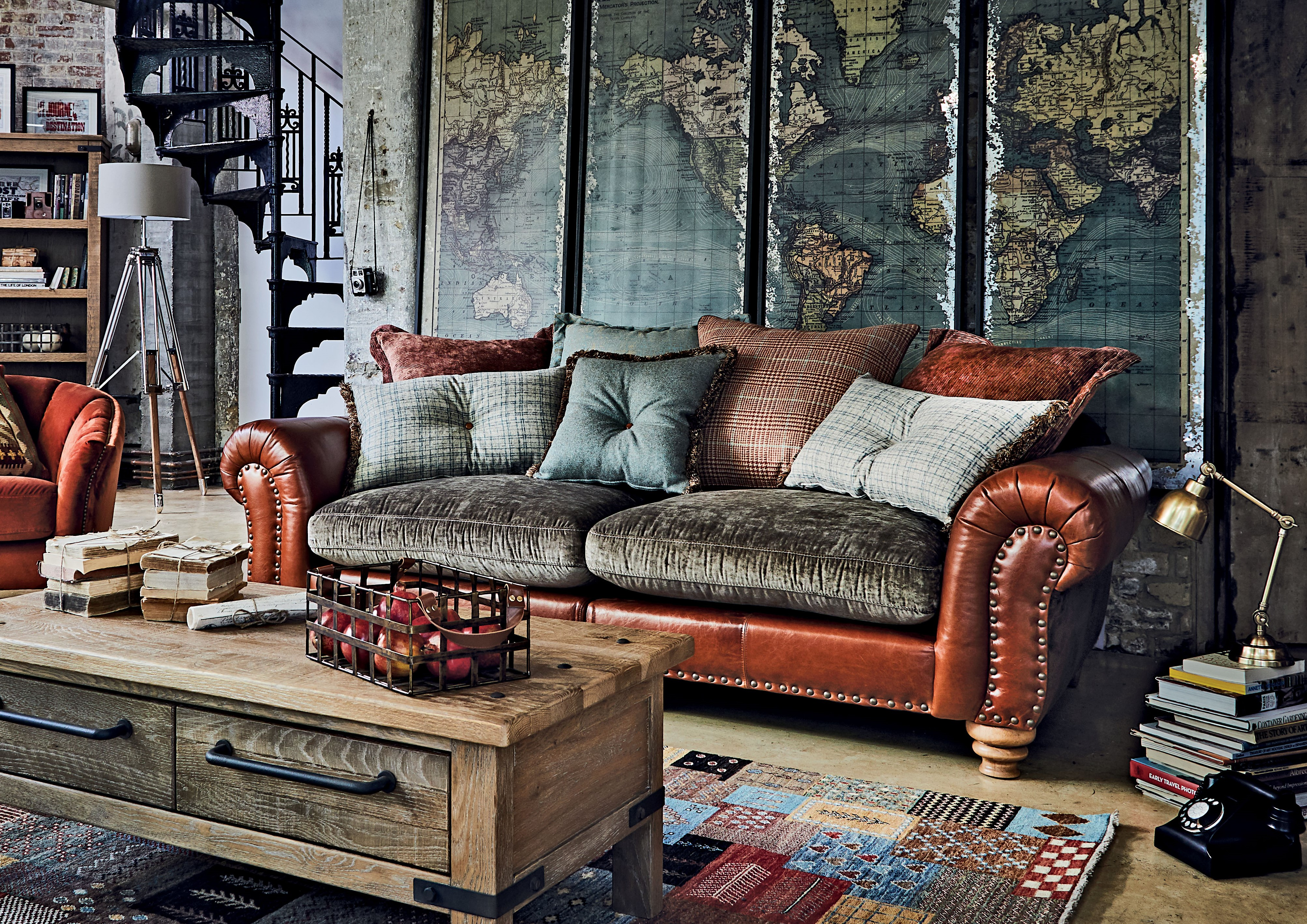 Dorchester Grand Split Pillow Back Sofa Choice Of Leather Lula Velvet Chair World Map Set 4 Wall Plaques Oakham Coffee Table And Bookcase
