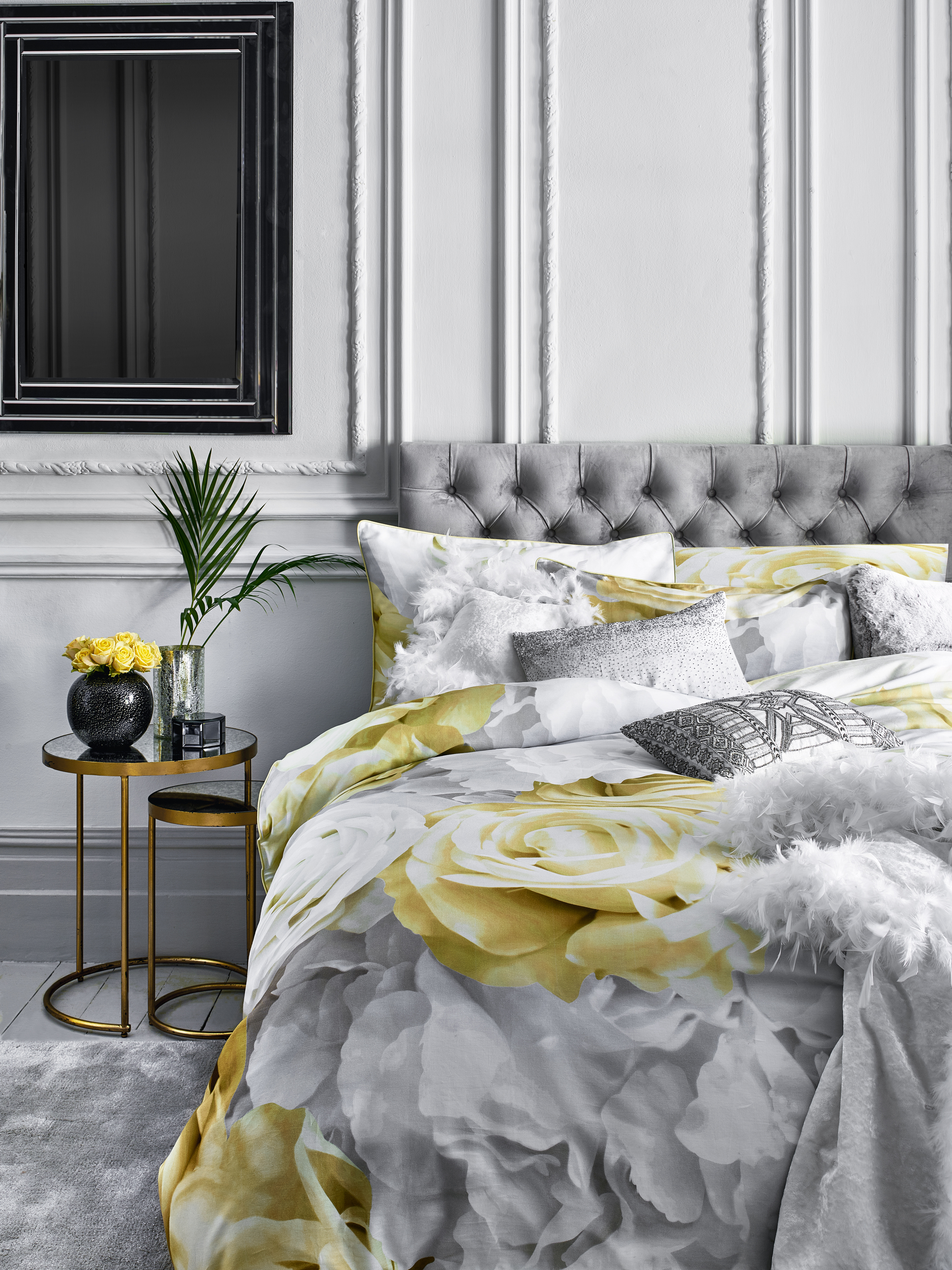 Decor desires 3 gorgeous new interiors trends to try in 2018 star by julien macdonald rose bed linen cushions runner vase jewellery box sleepeezee light grey plush velvet chester headboard glamour nest of two gumiabroncs Image collections