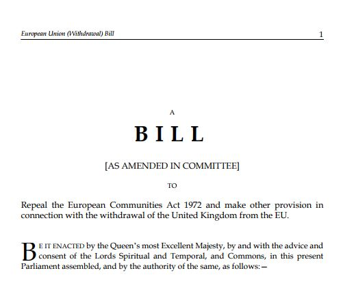 The opening lines of the European Union (Withdrawal) Bill