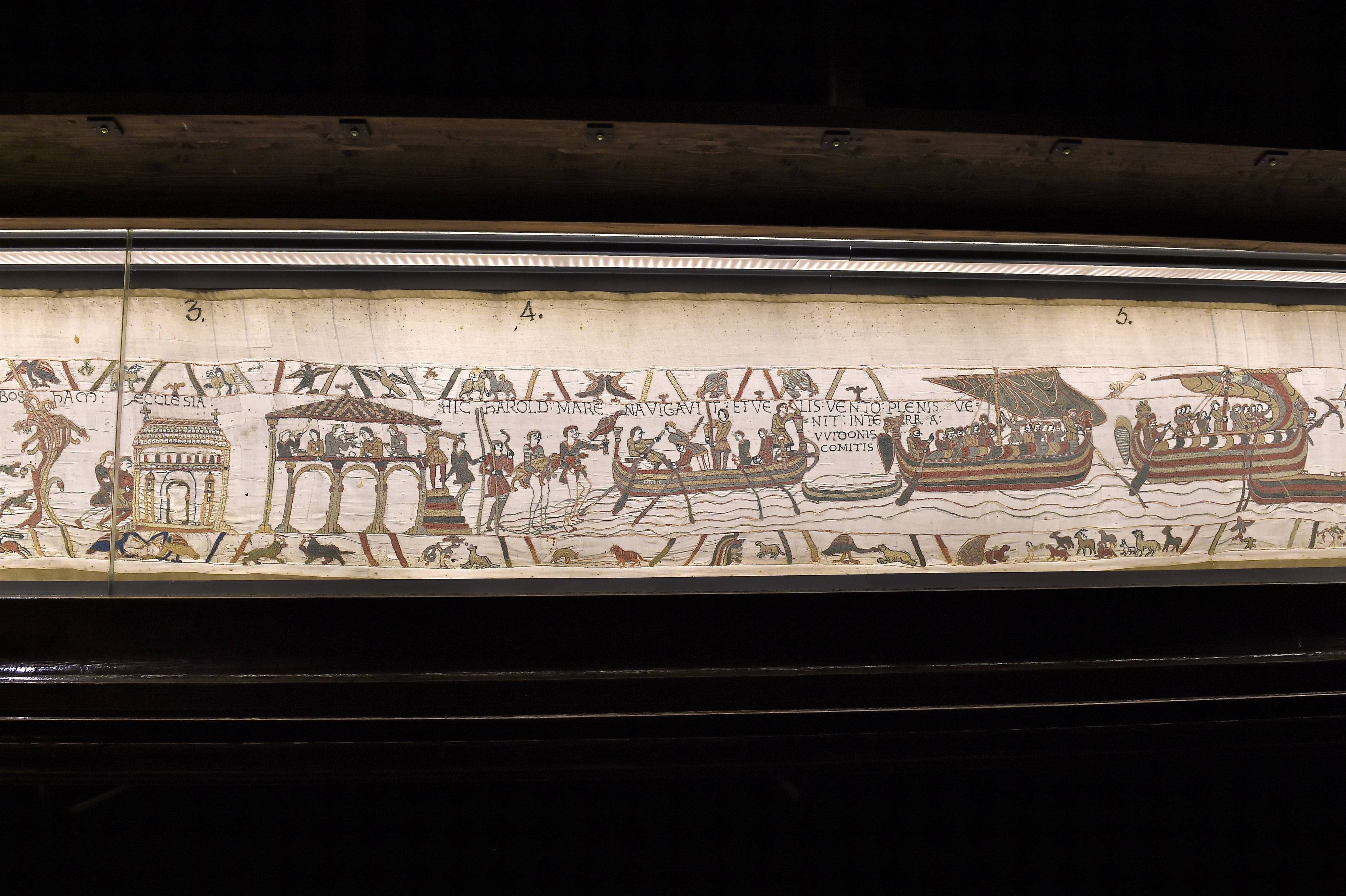 A section from the Bayeux tapestry (Stephane Maurice/Mairie de Bayeux via AP)