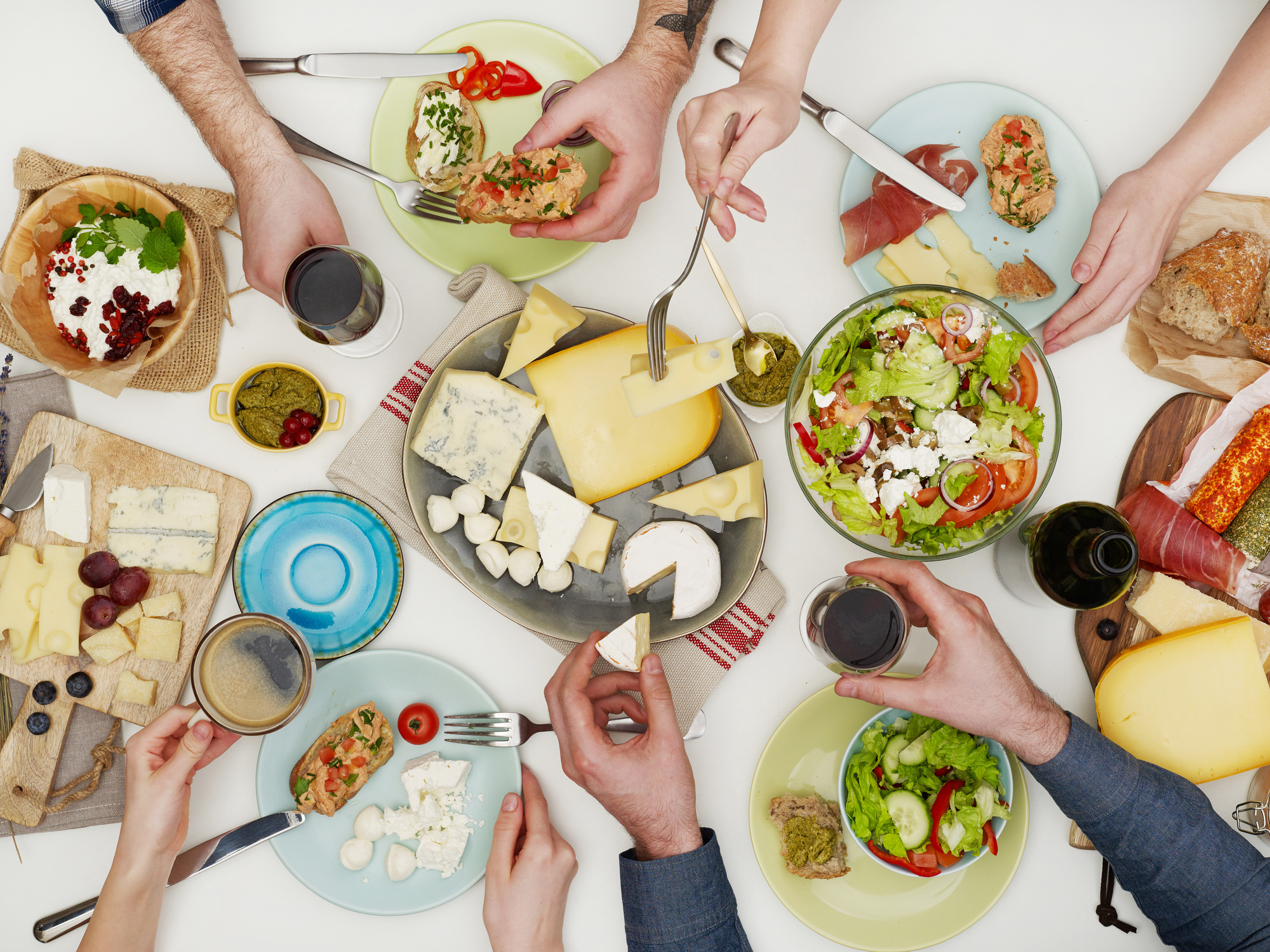 View from above the table of people eating (Thinkstock/PA)