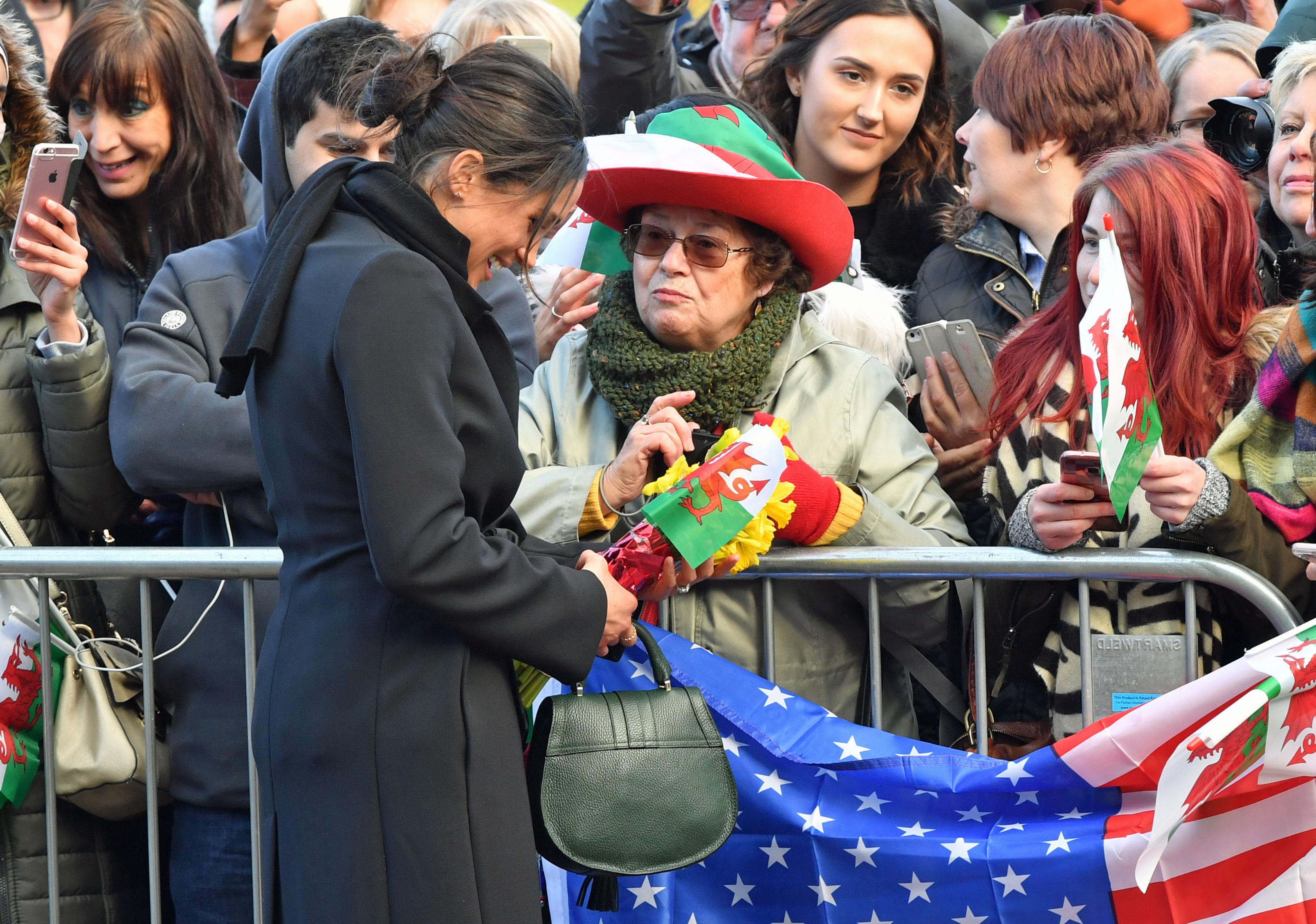 Meghan Markle meets the crowds in Cardiff (Ben Birchall/PA)
