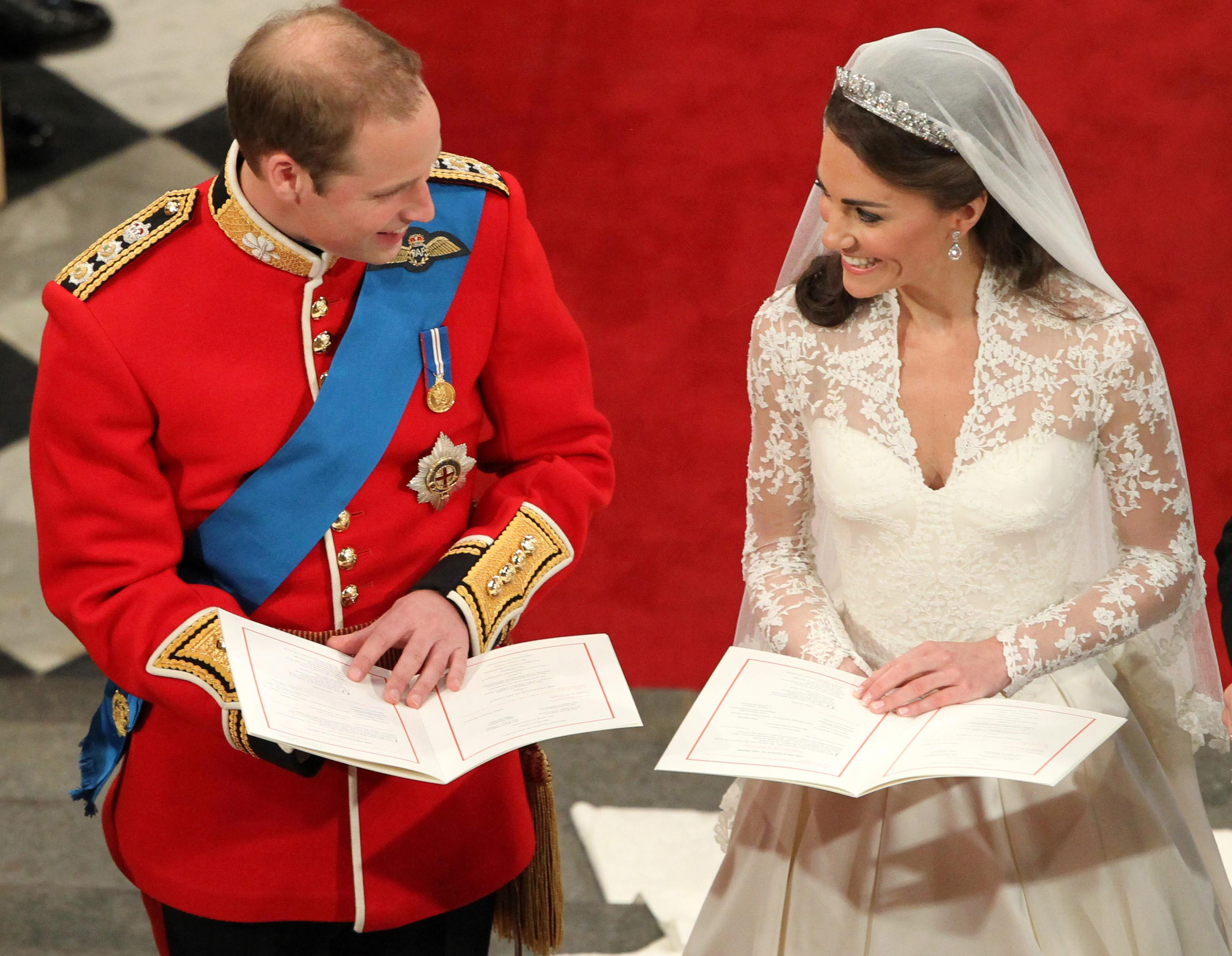 Prince William and Kate Middleton during their wedding service at Westminster Abbey in 2011 (Andrew Milligan/PA)
