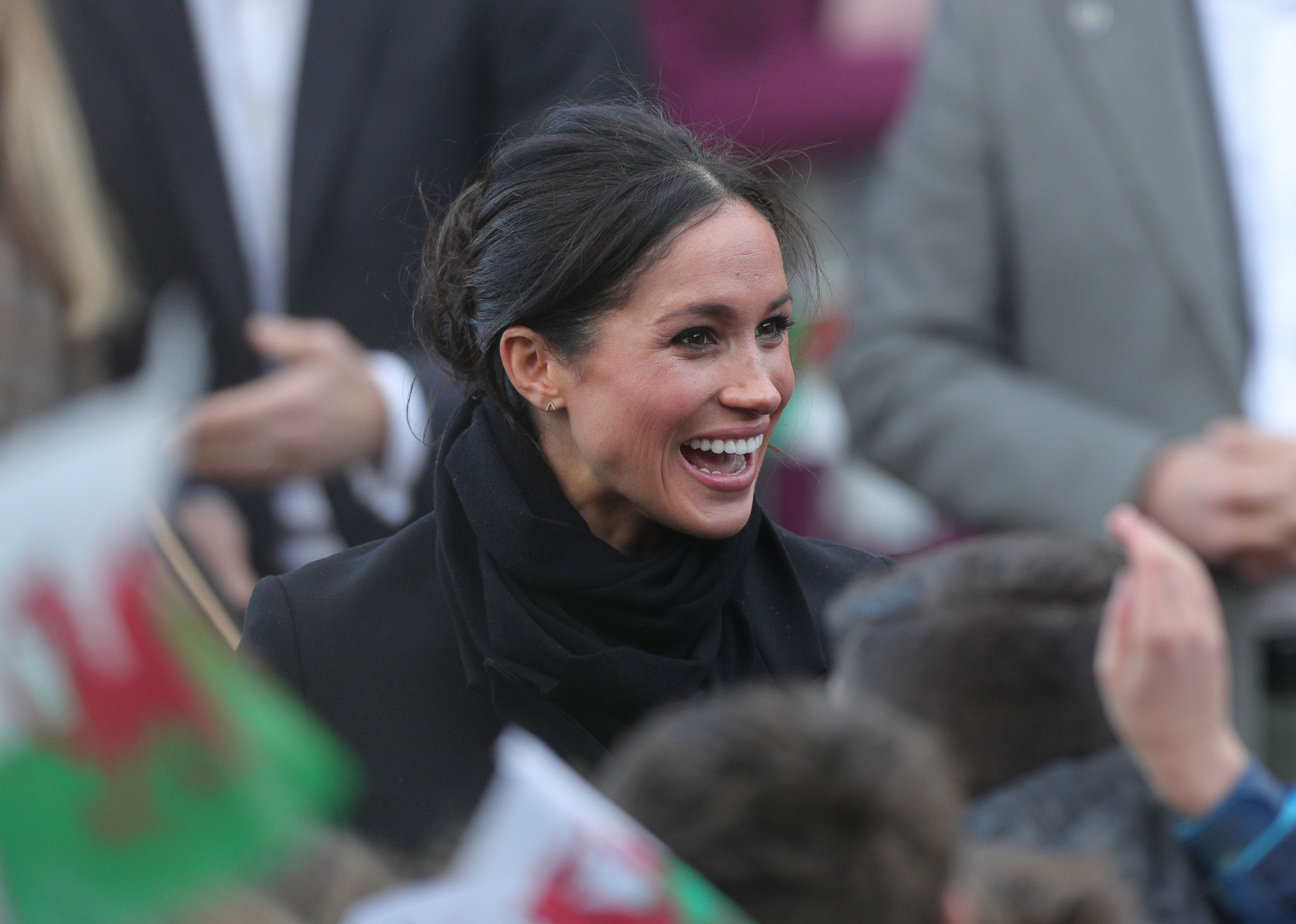 Meghan Markle arrive for a visit at Cardiff Castle with Prince Harry (Aaron Chown/PA)