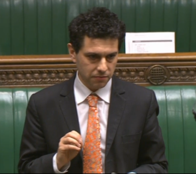 Labour MP Alex Sobel speaking in the House of Commons during a debate on Holocaust Memorial Day