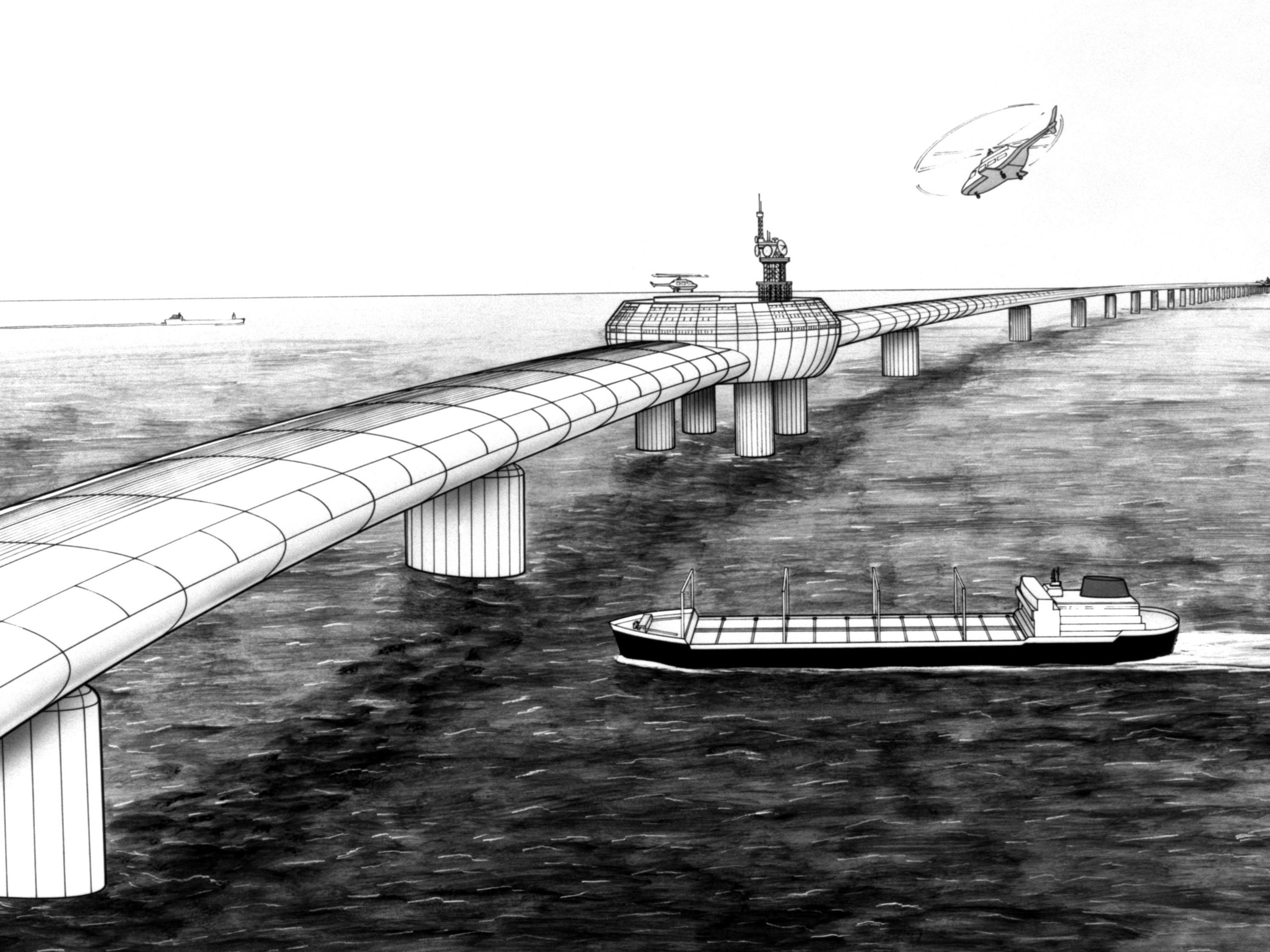 Artist's impression from 1985 of the Eurolink bridge, a plan by four London businessmen for a road/rail bridge across the Channel