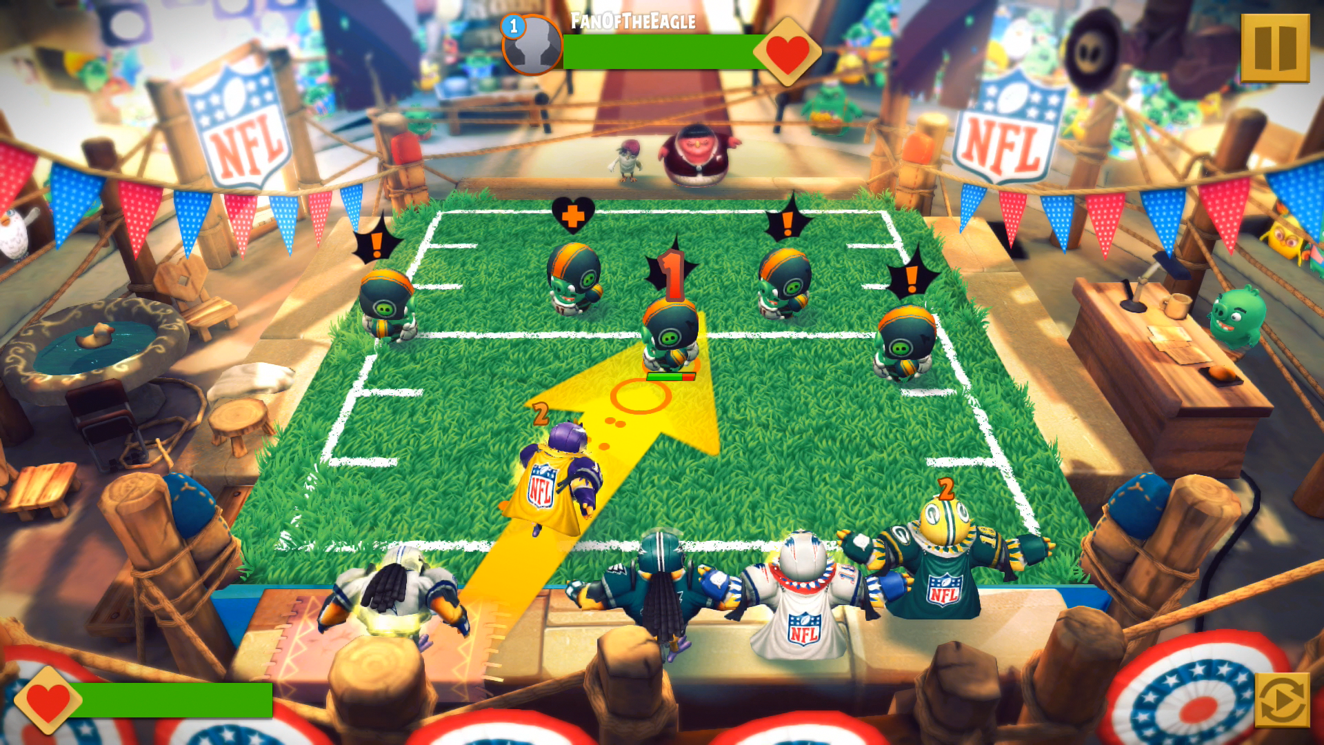 angry birds super bowl games screen shot