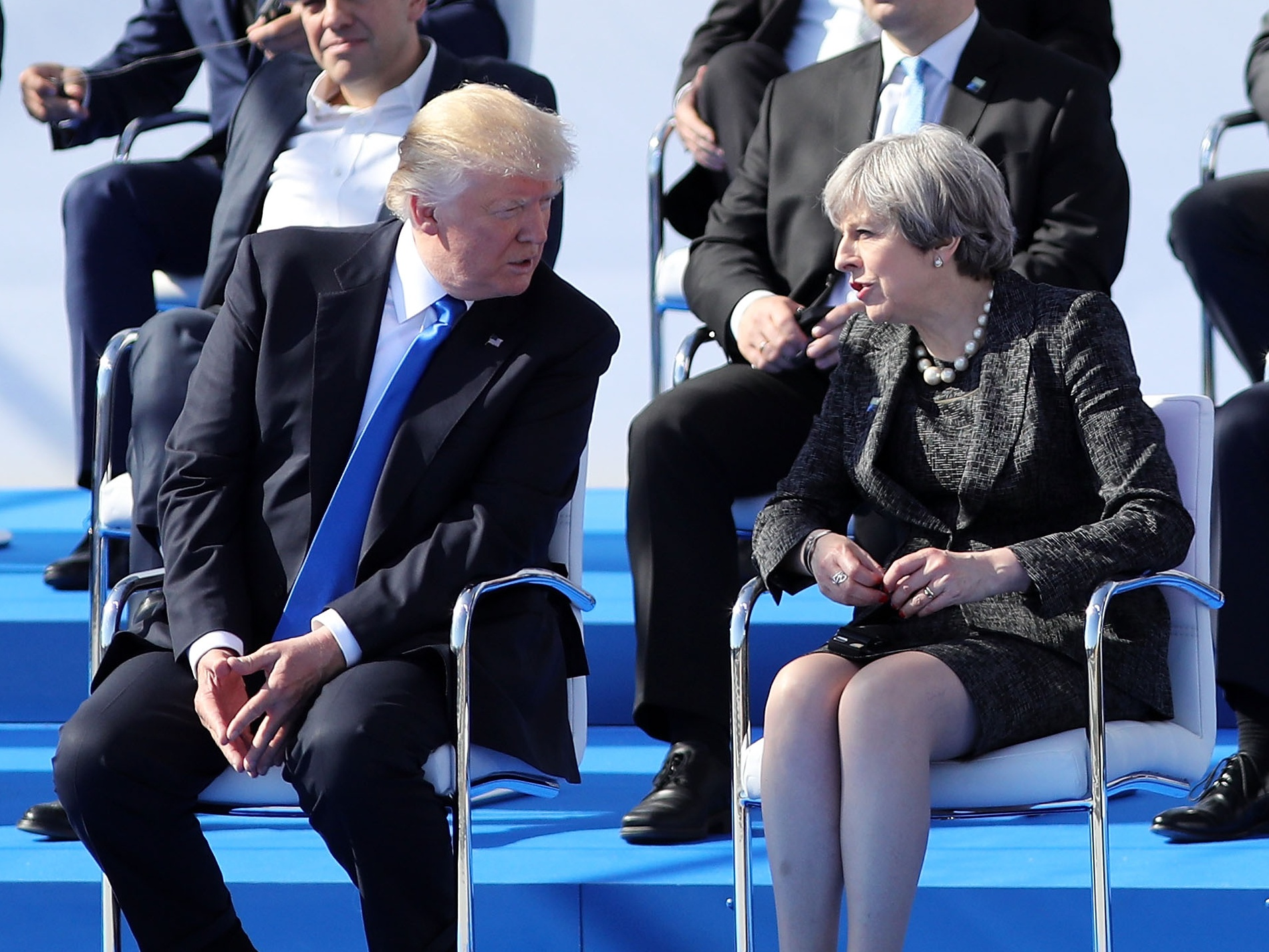 Donald Trump and Theresa May were seated together at the Nato summit in Brussels (Dan Kitwood/PA)