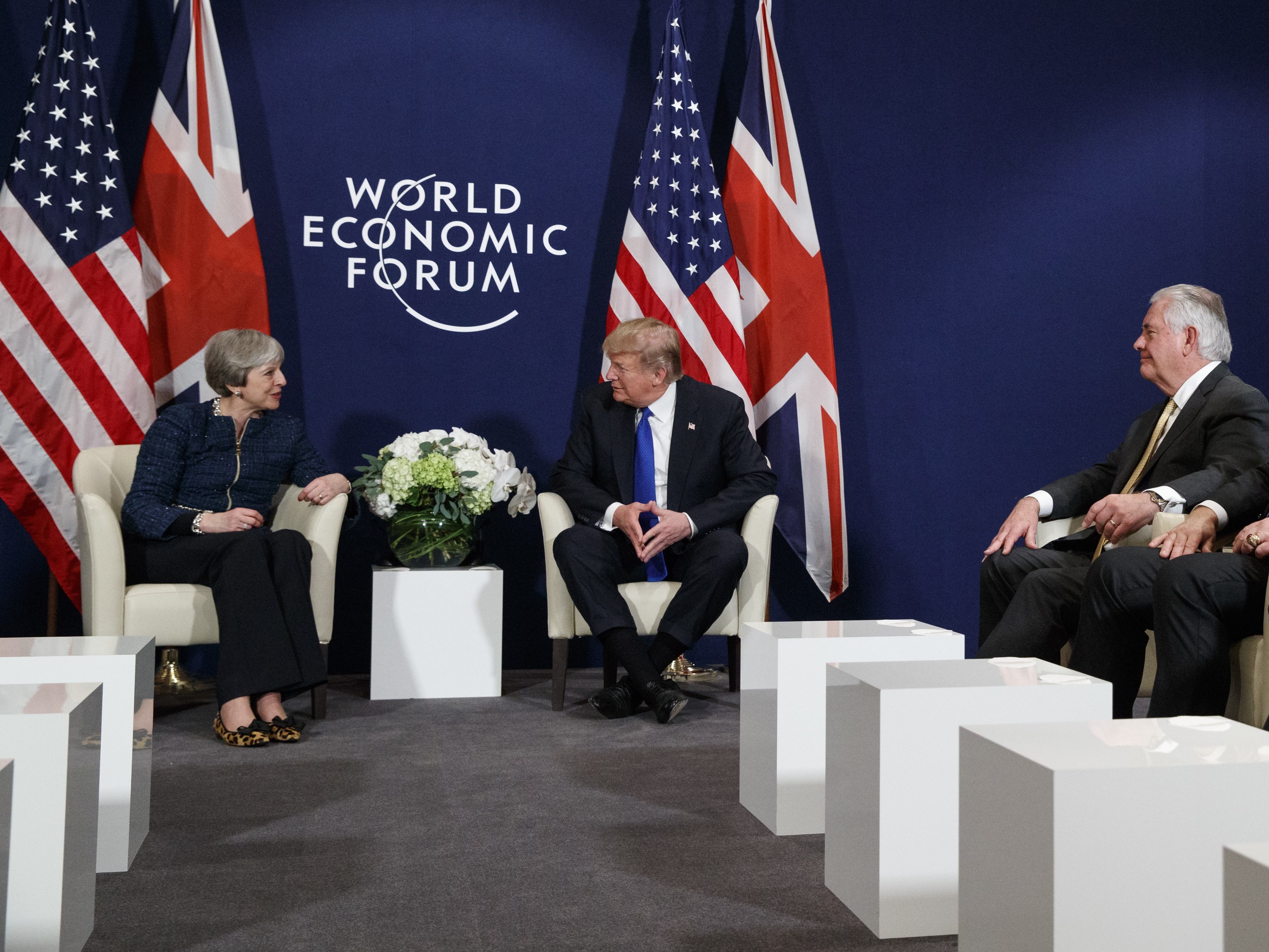 Davos provides the location for the latest meeting between Donald Trump and Theresa May (Evan Vucci/AP)