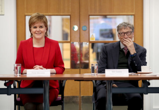 Nicola Sturgeon and Bill Gates heard about health projects in Africa (Jane Barlow/PA)