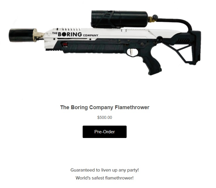 Picture of the flamethrower with The Boring Company logo, pre-order button and $500 price tag