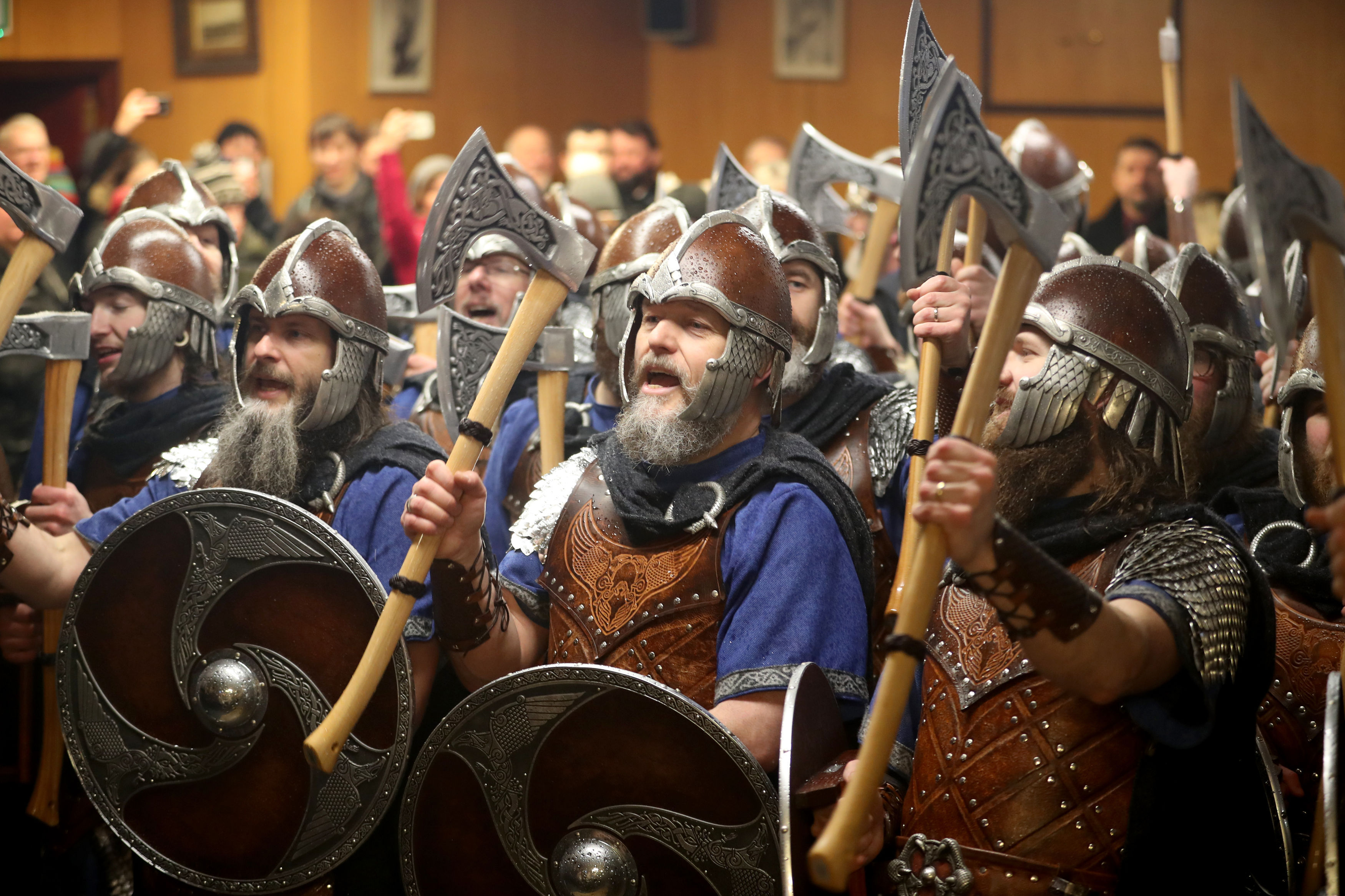 The Jarl Squad limbering up for Up Helly Aa (Jane Barlow/PA)