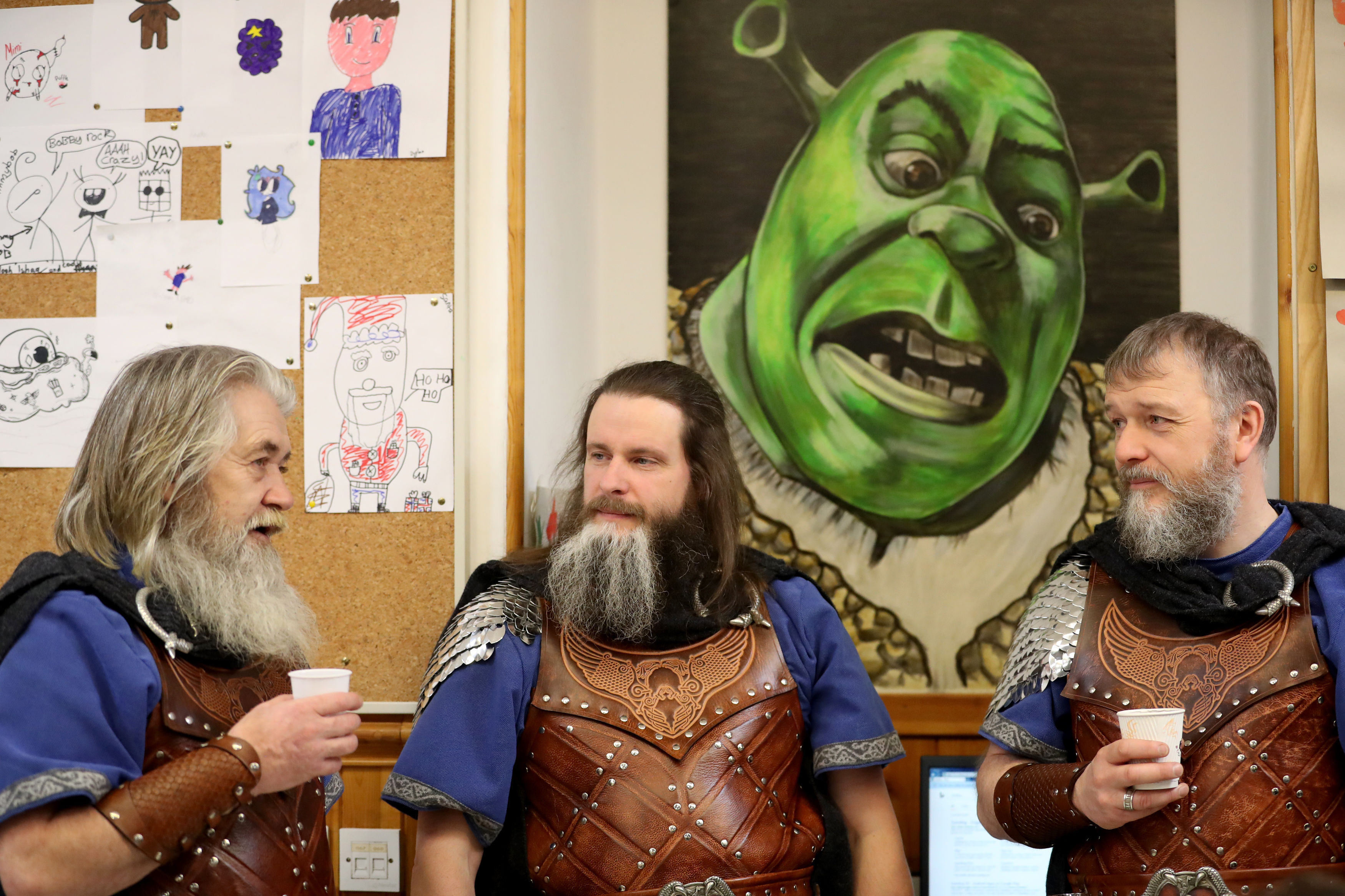 Shrek looks on disapprovingly as members of the Jarl Squad take a tea break (Jane Barlow/PA)