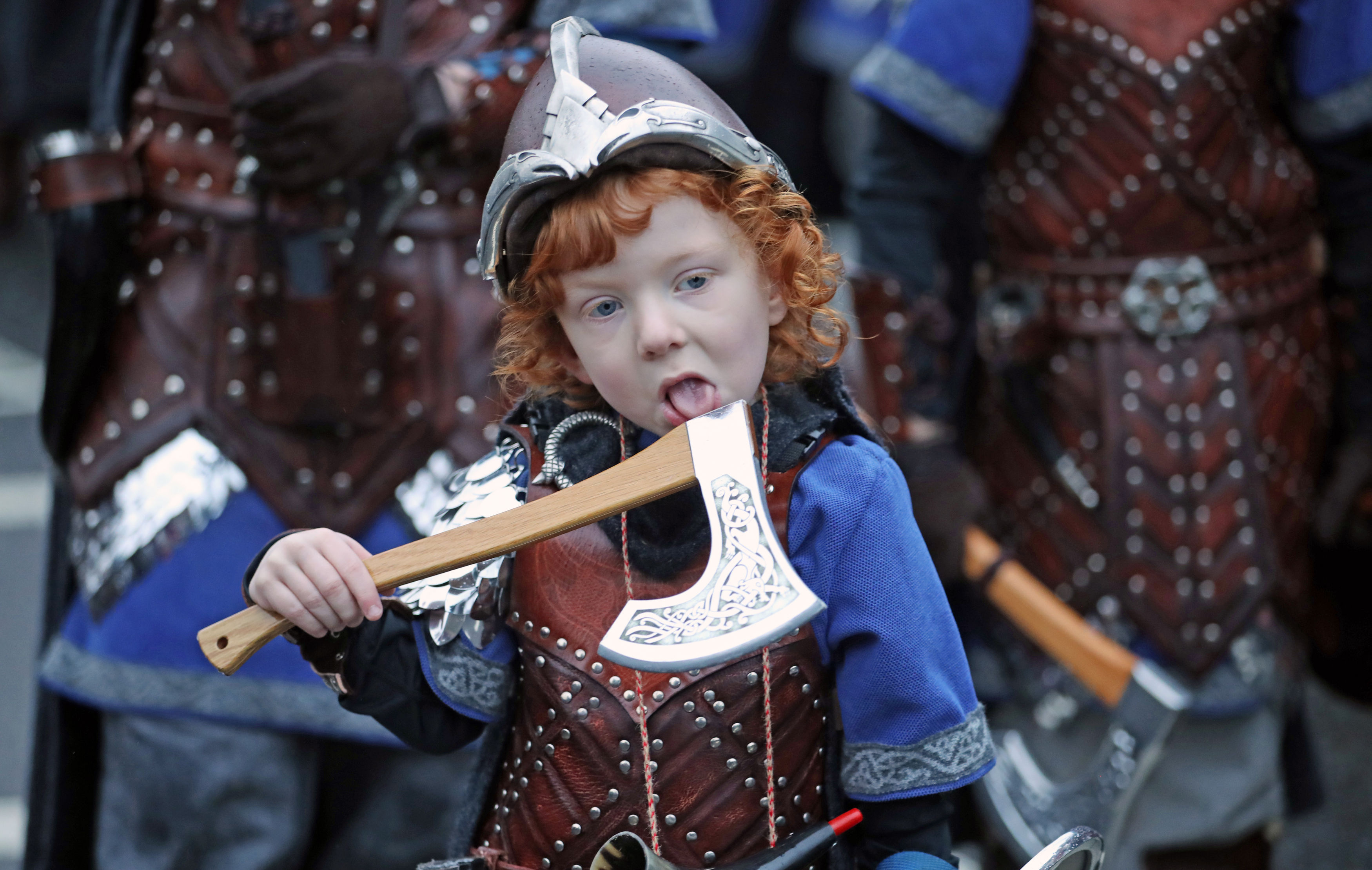 Odin Geddes, four. takes a lick of his axe (Jane Barlow/PA)