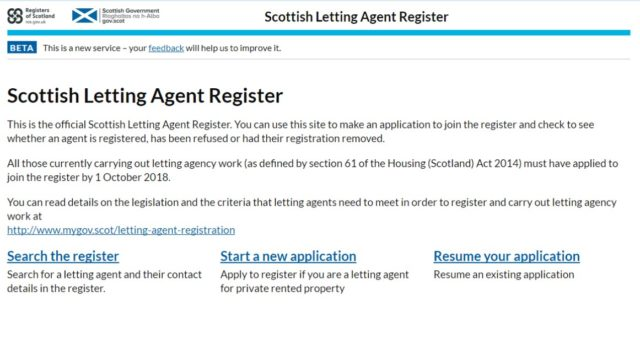 Scottish Letting agent register