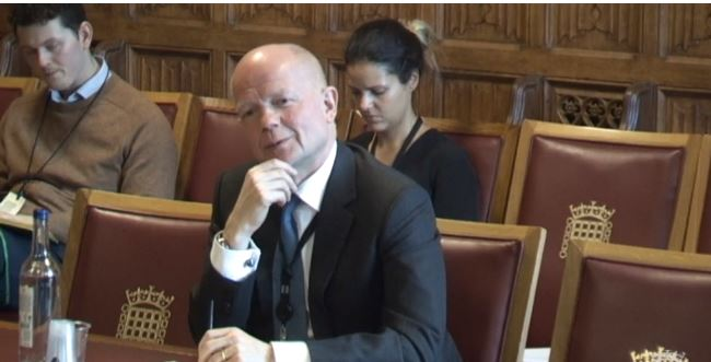 Lord Hague giving evidence to the International Relations Committee (Parliamentlive.tv)