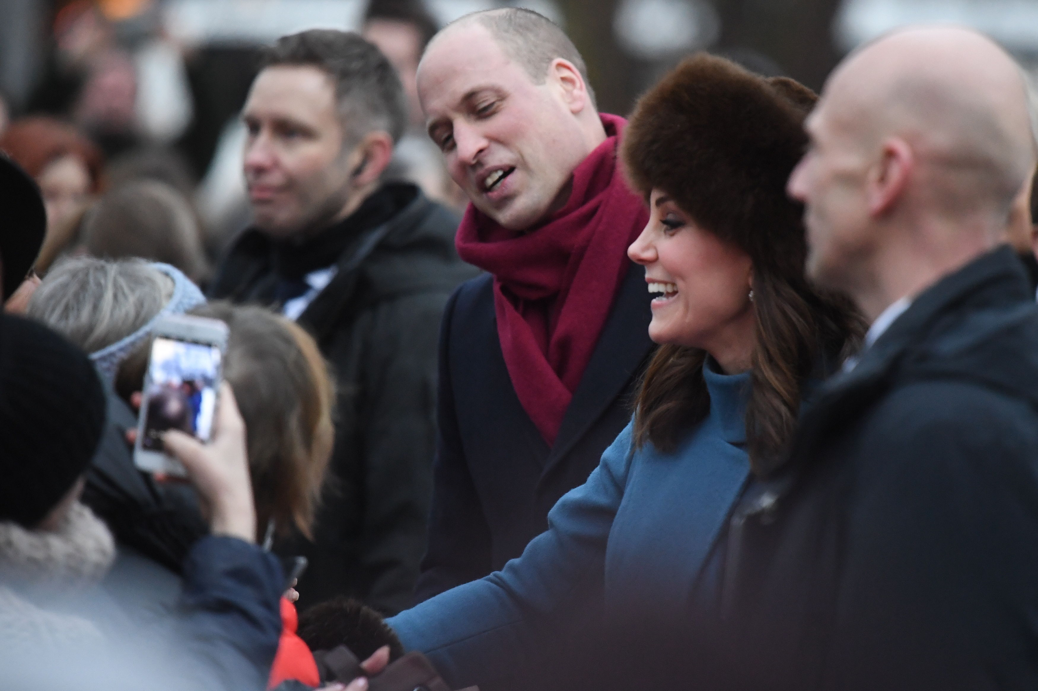 The Duke and Duchess of Cambridge meet the crowd as they arrive at the Norwegian Royal Palace in Oslo, Norway (Victoria Jones/PA)