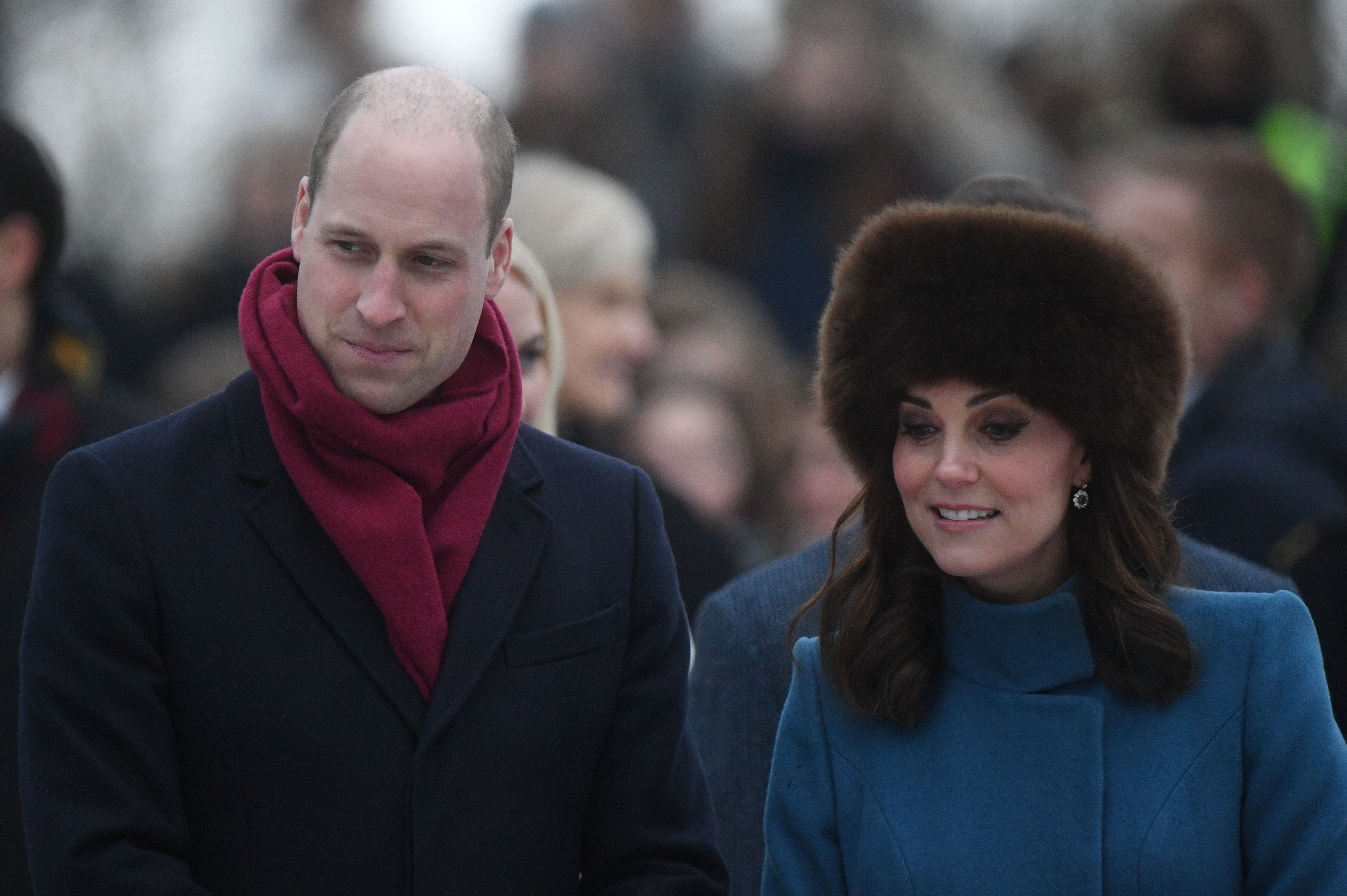 Kate and William brave the cold weather (Victoria Jones/PA)