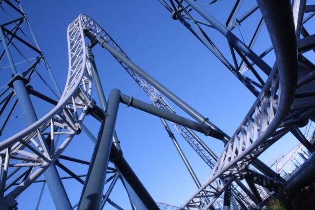 ICON soars through the lift hill of the Big One rollercoaster