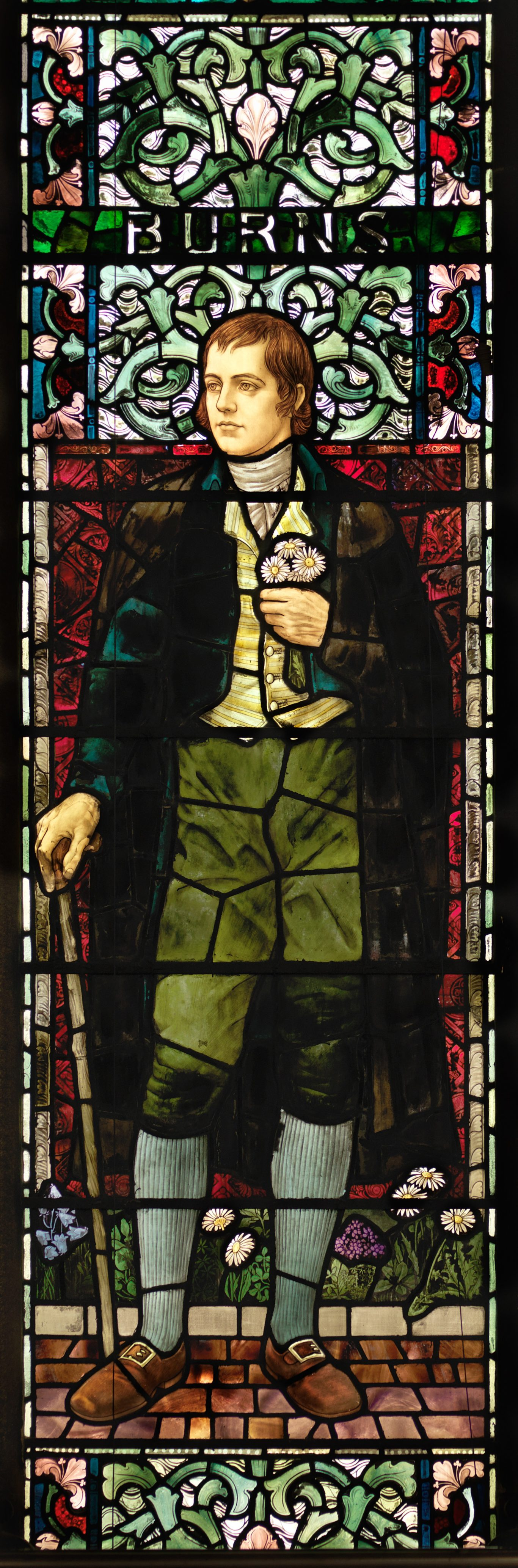 Stained glass window of Robert Burns in the Bute Hall (University of Glasgow/PA)