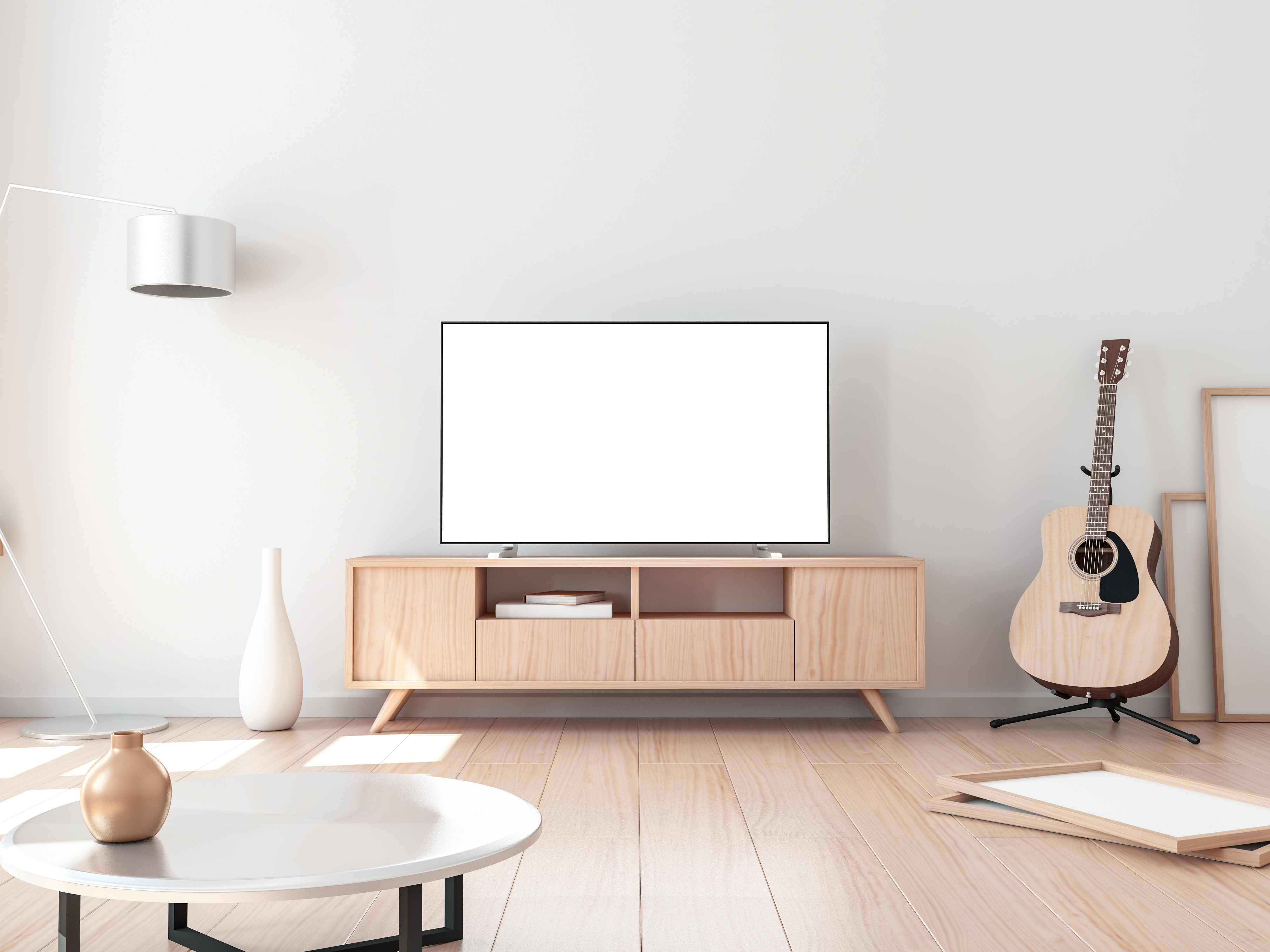 A living room with a television and a guitar
