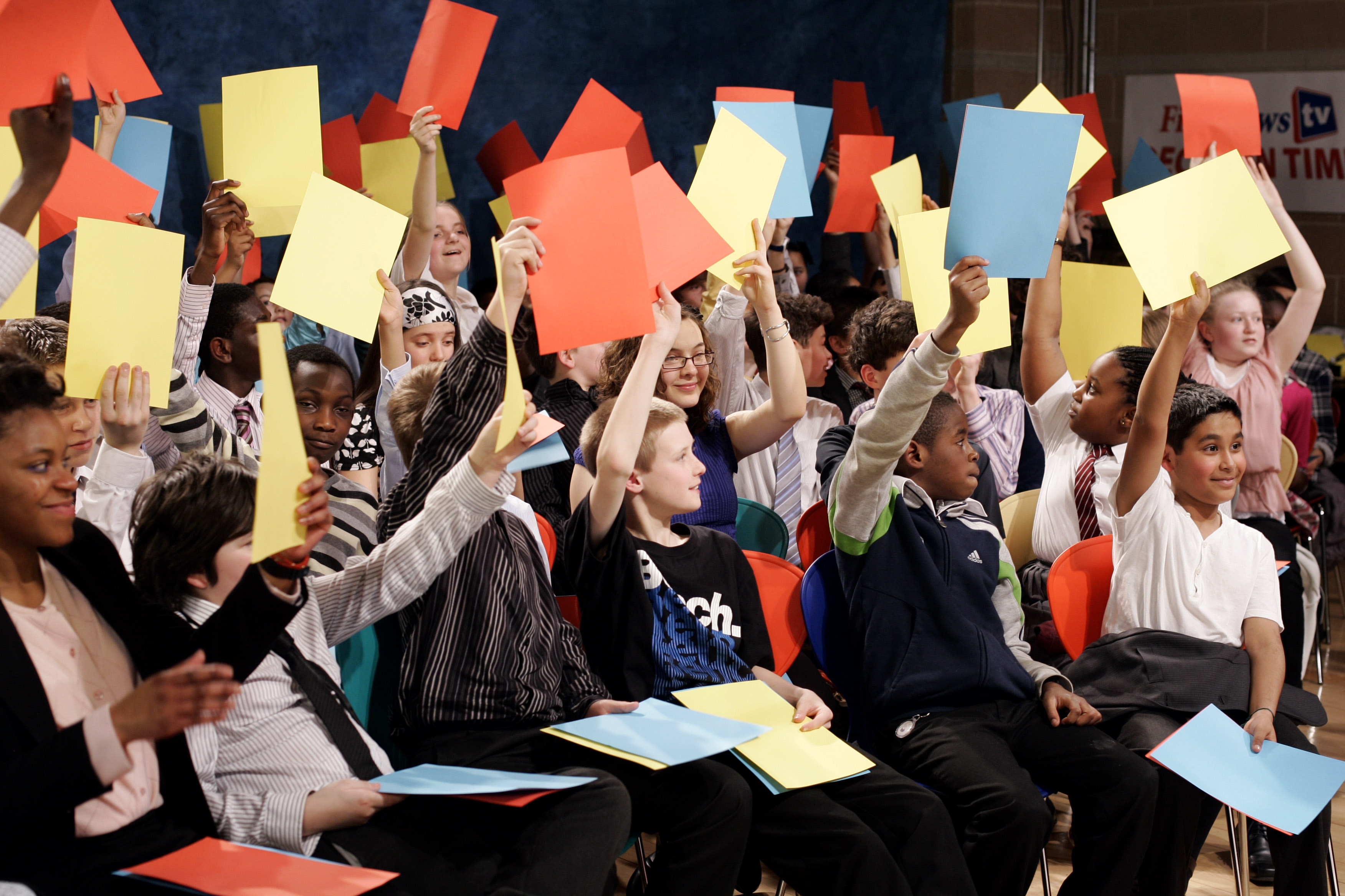 Children voting in a debate in London in 2010