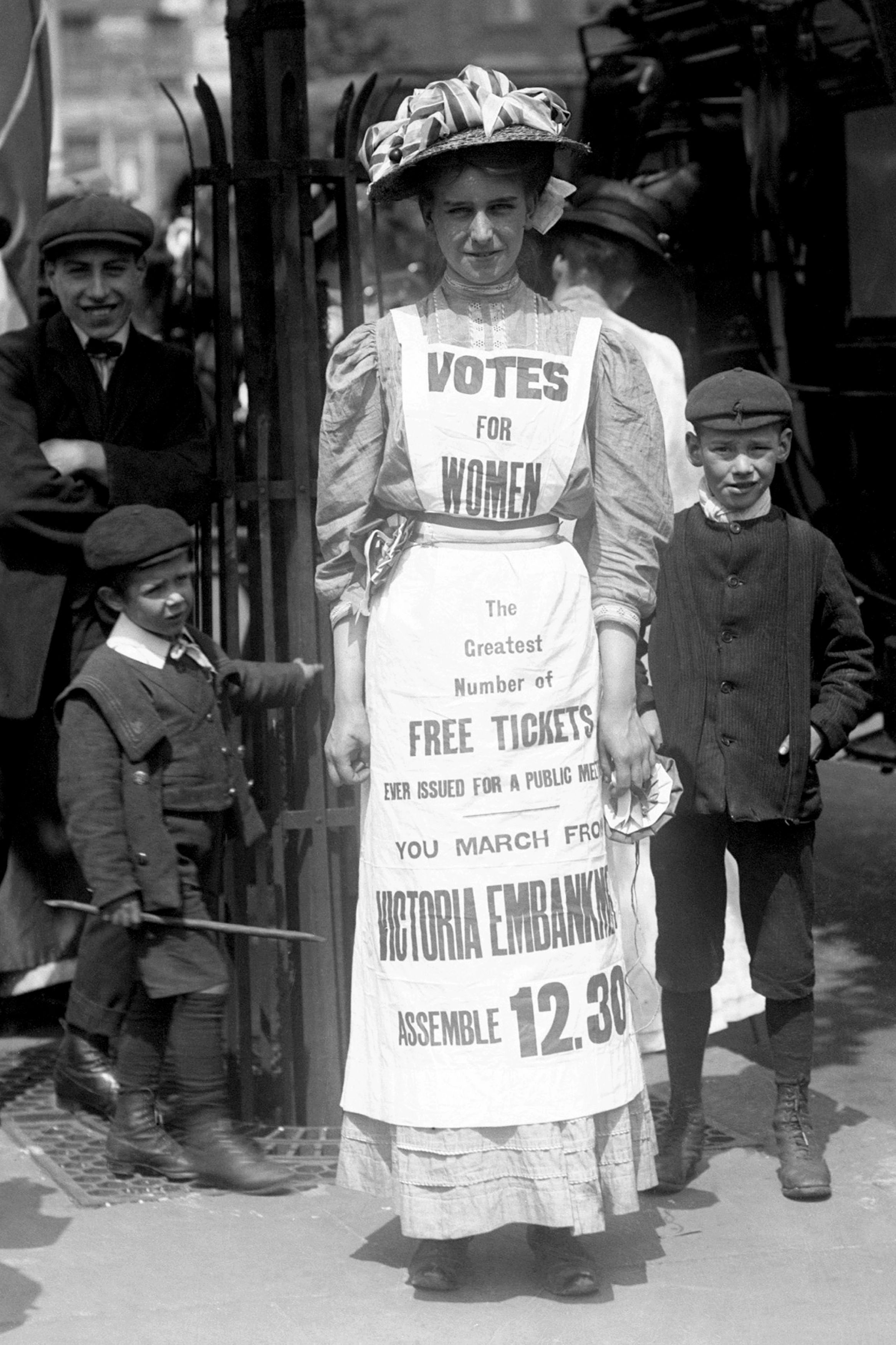A suffragette campaigning for the vote in 1908 (PA)