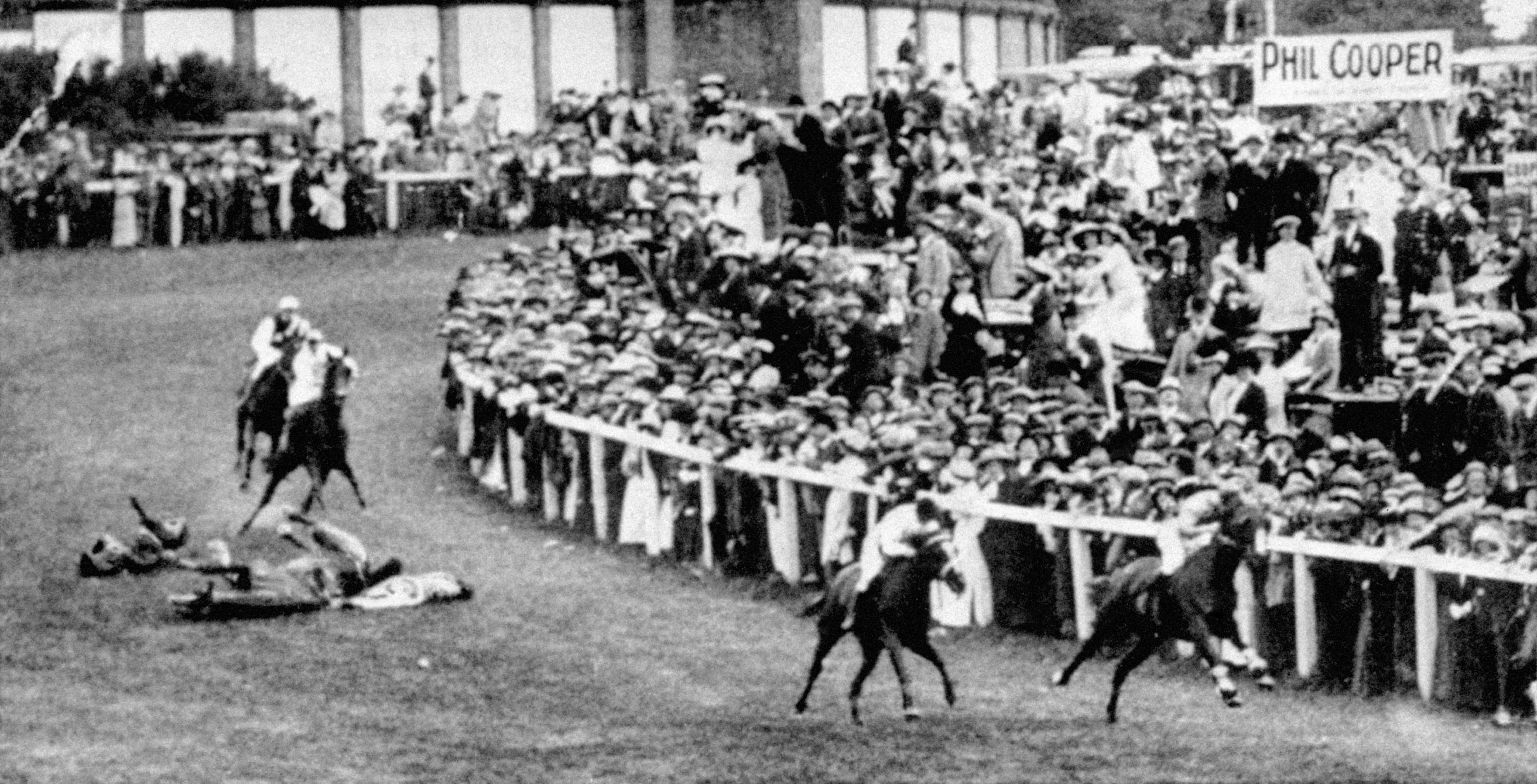 Suffragette Emily Davison after she was fatally injured by the King's horse during the Epsom Derby in 1913 (PA)