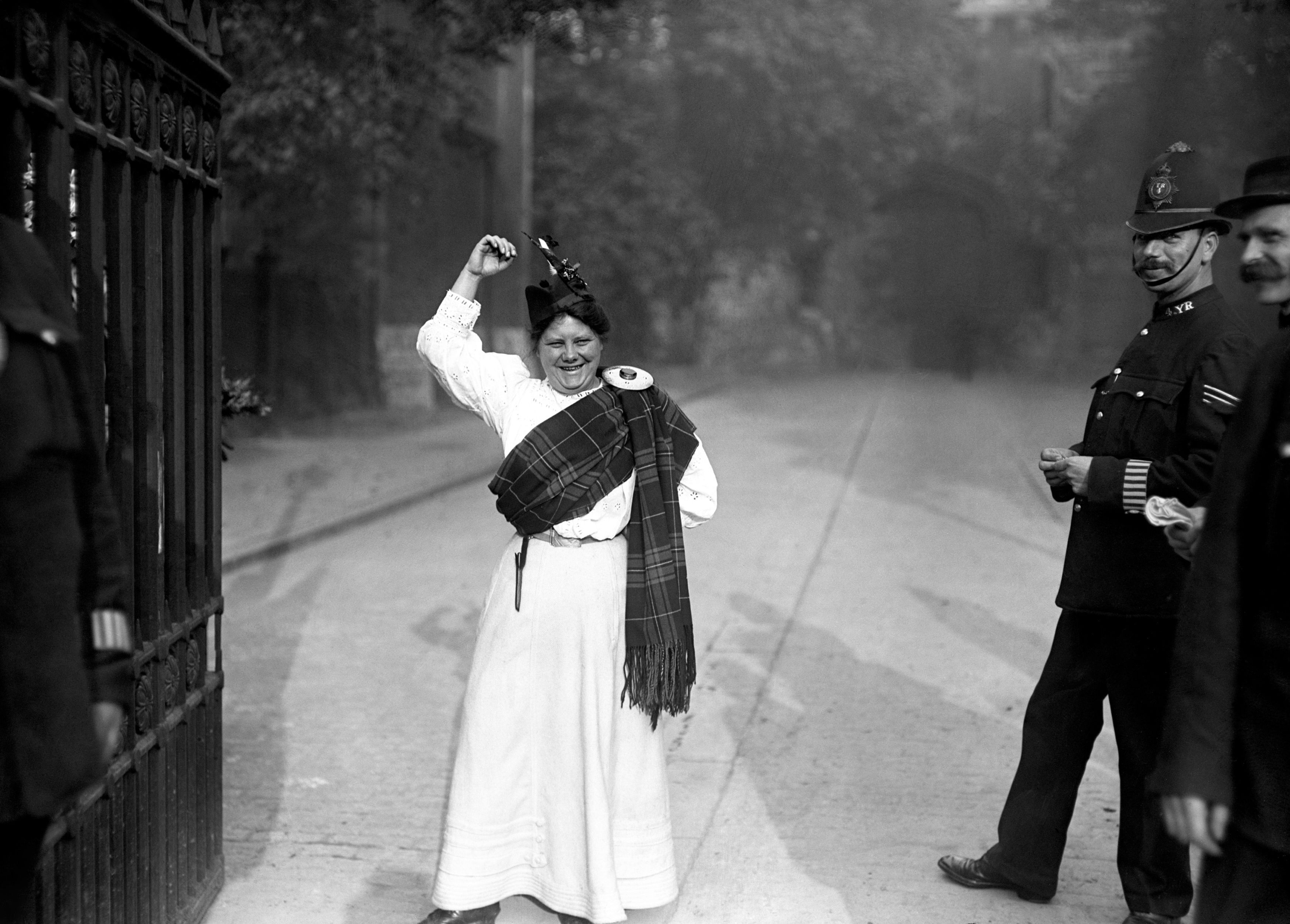 Manchester-born Flora Drummond, who was known for dramatic stunts, a militant attitude to suffrage, and rallying speeches (PA)