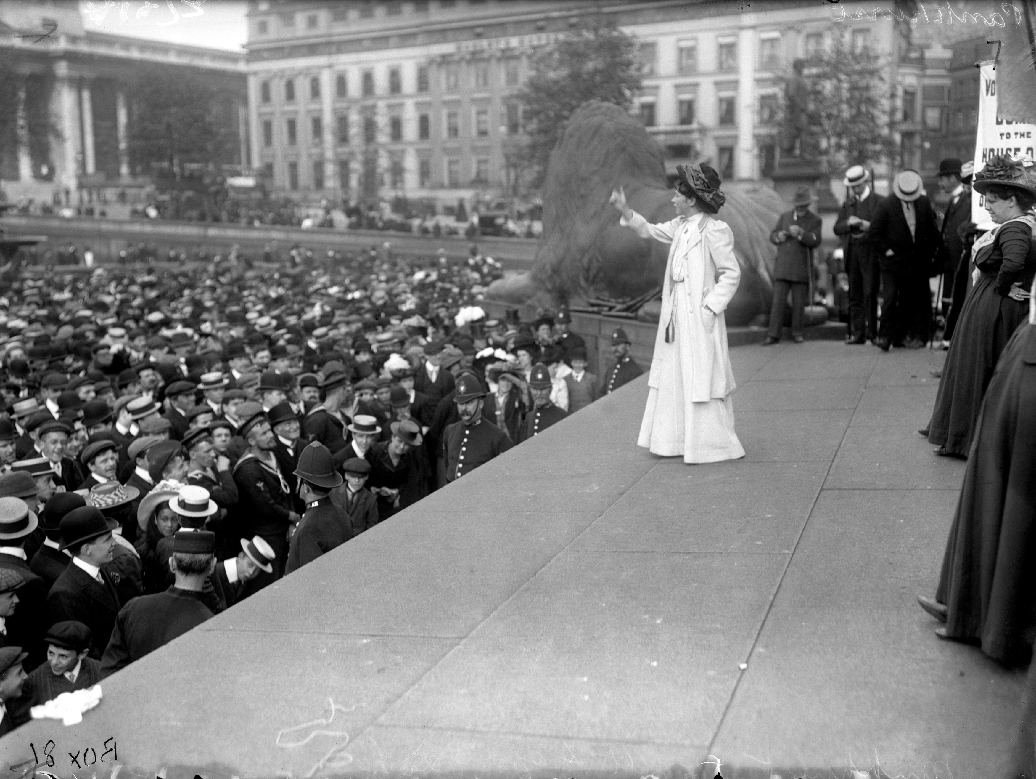 Suffragette Miss Pankhurst addressing the crowd in Trafalgar Square during a rally (PA)