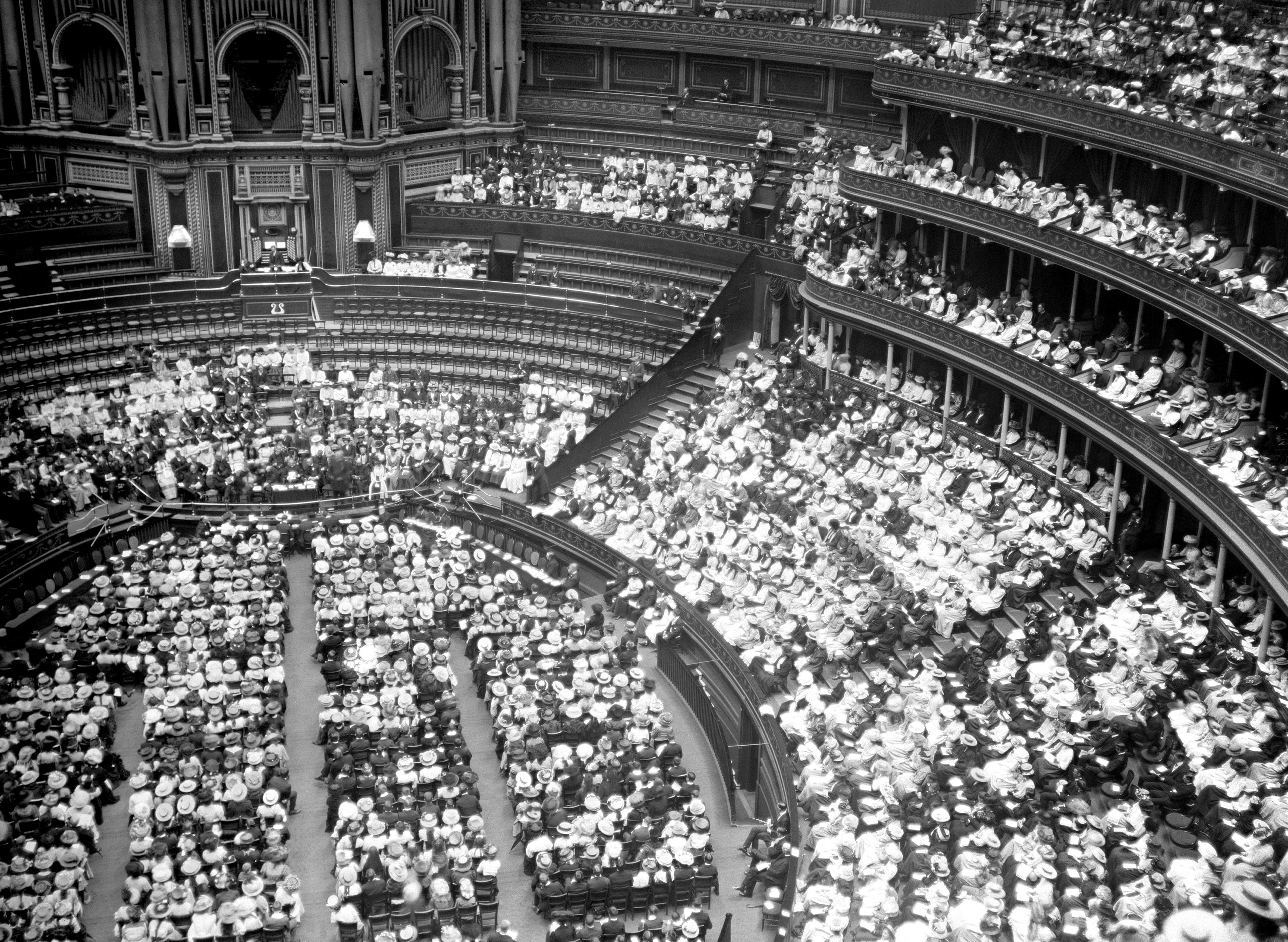 Suffragettes during a mass meeting at the Royal Albert Hall in 1913 (PA)