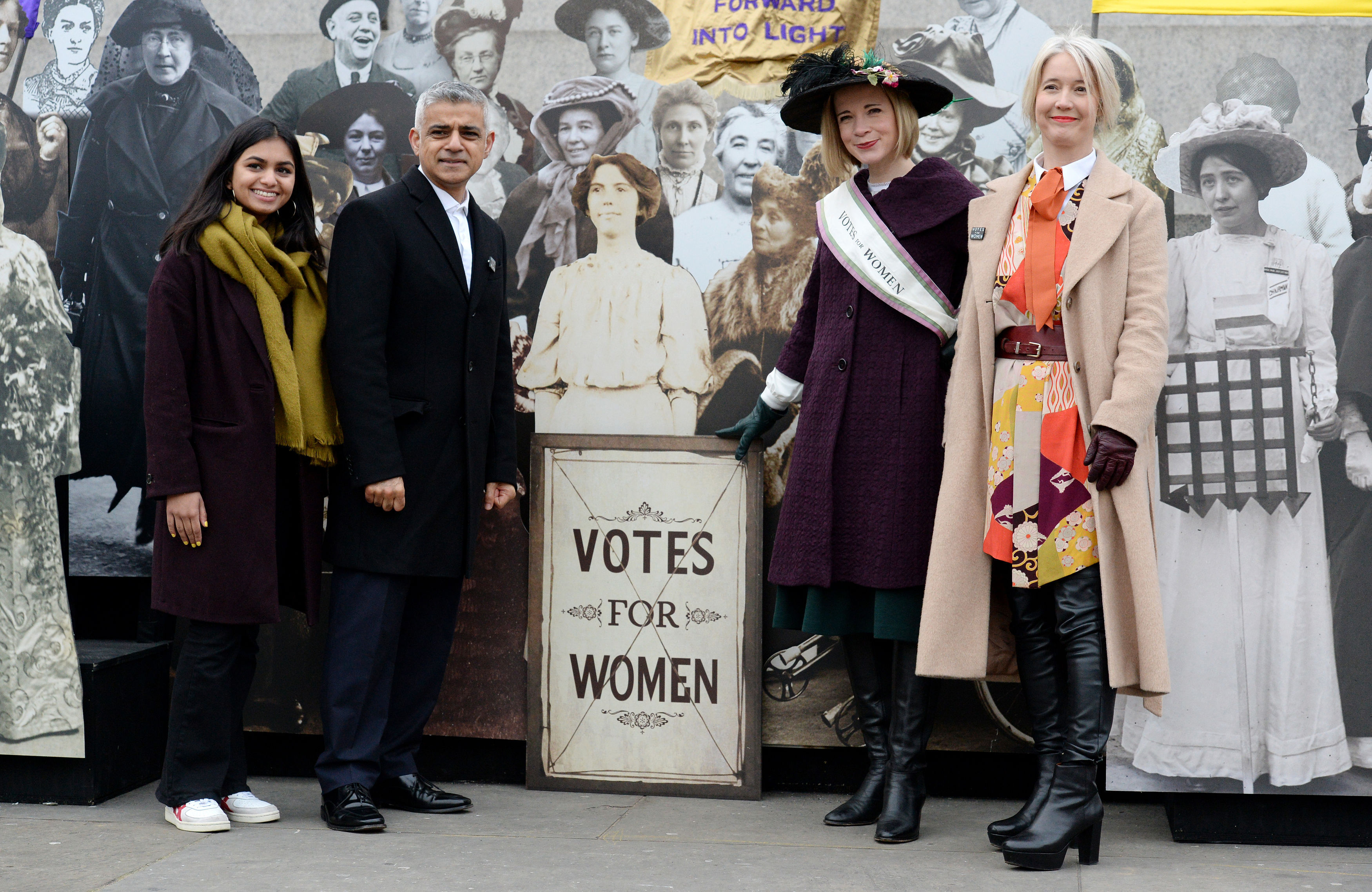 Woman's activist Amika George, Mayor of London Sadiq Khan (second left), Curator of the Historic Royal Palaces Lucy Worsley (second right) and Deputy Mayor Justine Simons (right) at the opening of an exhibition in Trafalgar Square to mark the centenary of women's suffrage (Kirsty O'Connor/PA)