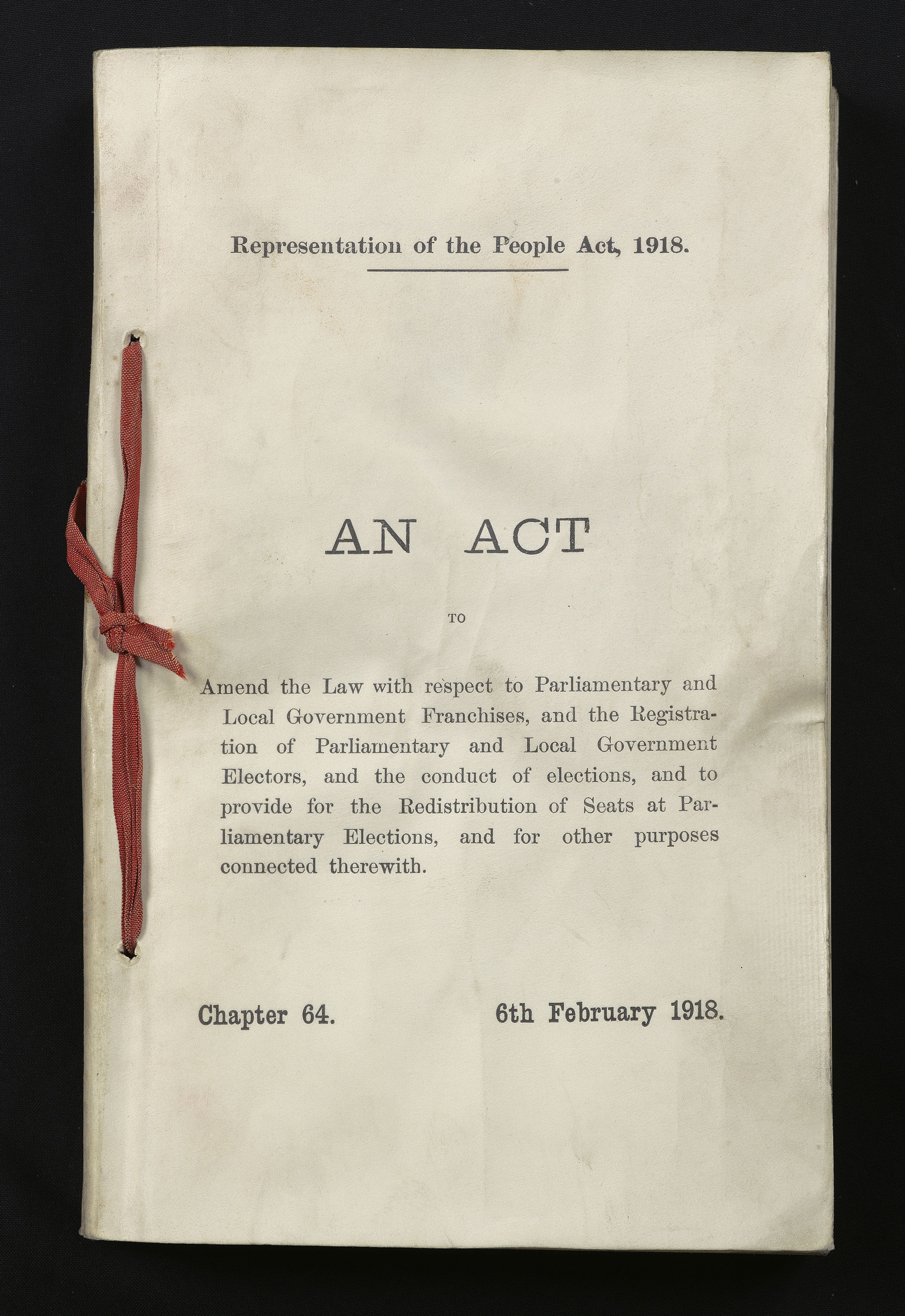 A paper copy of the Representation of the People Act (UK Parliament/Jessica Taylor/PA)
