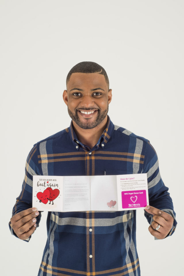 Former JLS singer JB Gill has backed the campaign (NHSBT/Moonpig)