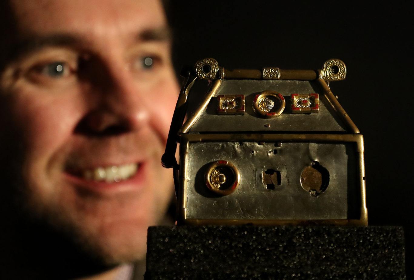 Dr Martin Goldberg with the Monymusk Reliquary, part of a new research project (Andrew Milligan/PA)